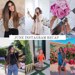 instagram outfit details, Instagram outfit inspiration | Instagram Recap by popular US life and style blog, The Sweetest Thing: collage image of Emily Gemma wearing various outfits.
