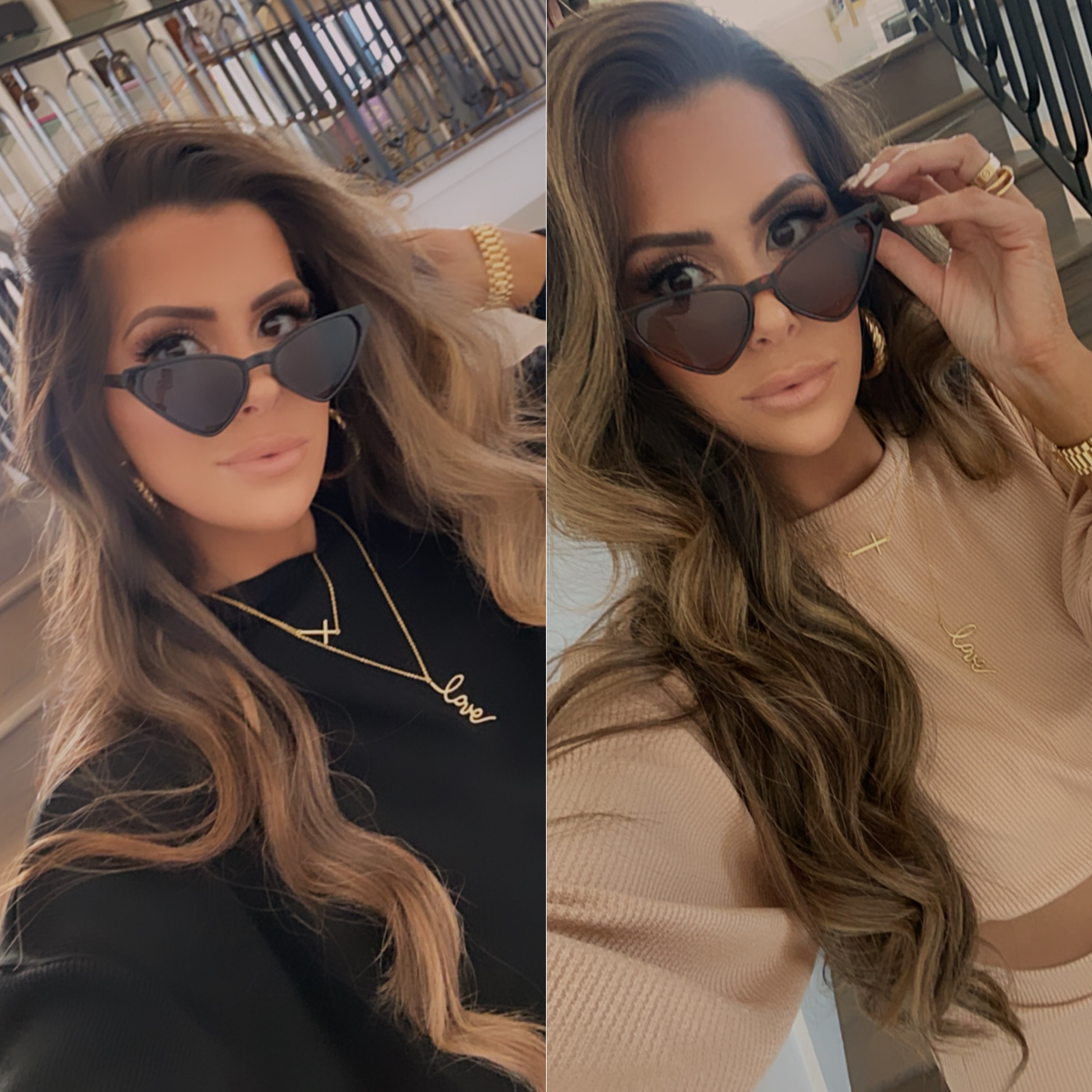 Like To Know It by popular US fashion blog, The Sweetest Thing: image of Emily Gemma wearing a Styled Collection FAITH PENDANT, Styled Collection LOVE SCRIPT PENDANT, Styled Collection MALIBU CRYSTAL BAND, and Nasty Gal Play All the Angles Tortoiseshell Sunglasses.