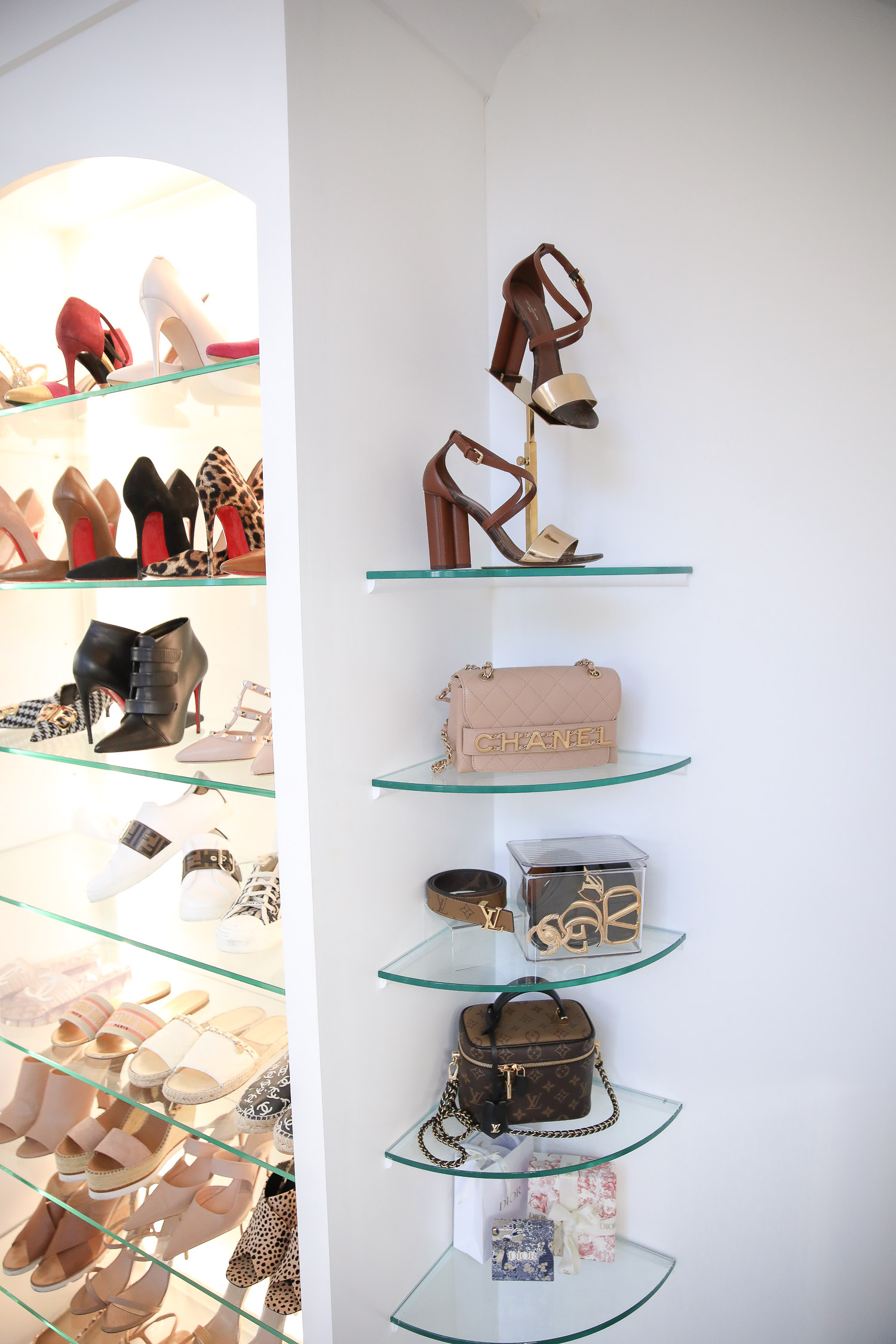 amazon must haves summer 2020, amazon home decor blog post, amazon luxury must haves, two story closet pinterest, emily gemma, closet organization | Amazon Favorites by popular US life and style blog, The Sweetest Thing: image of a shoe display stand, acrylic display box with lid, and acrylic display risers.