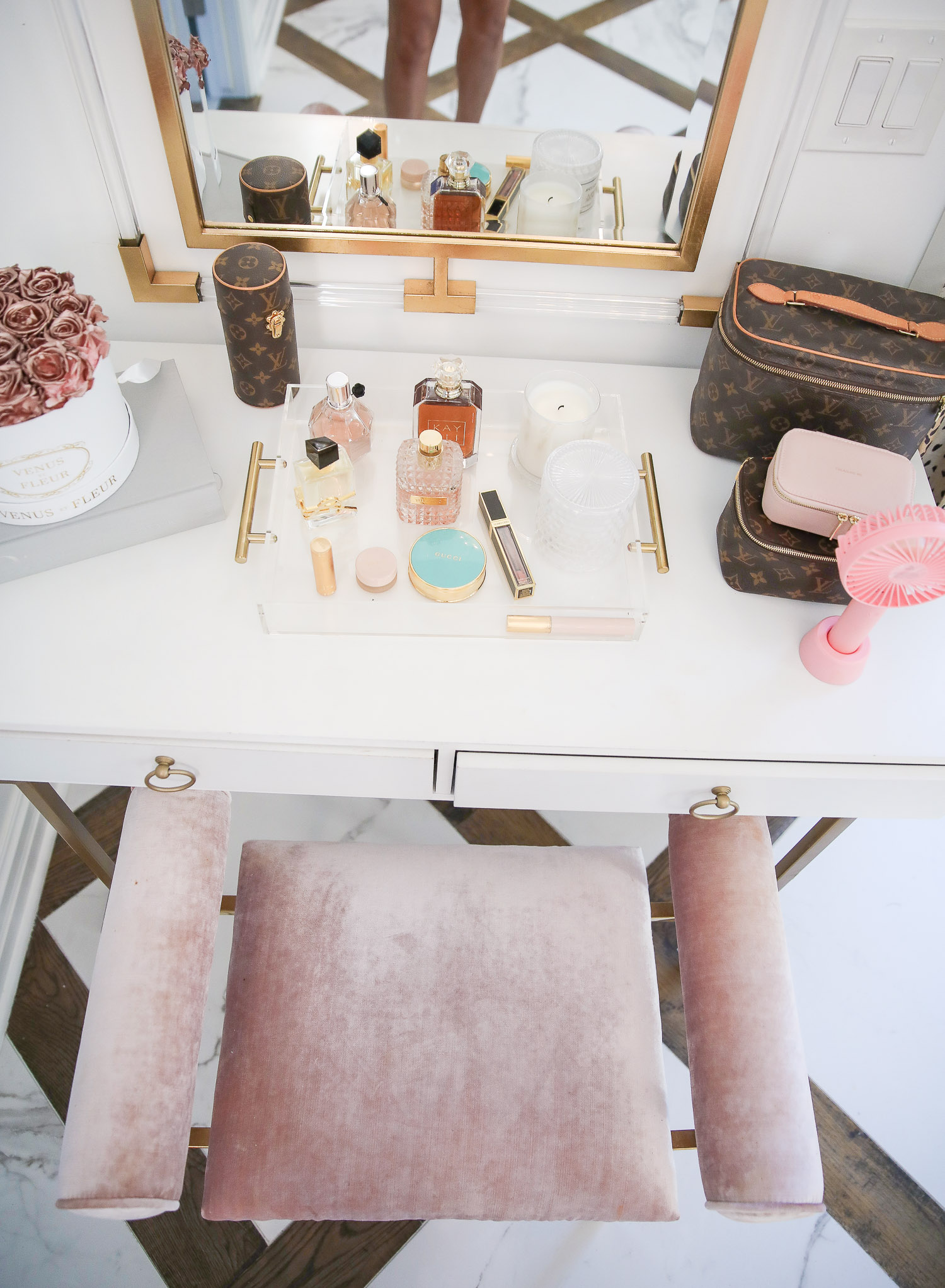 amazon must haves summer 2020, amazon home decor blog post, amazon luxury must haves, two story closet pinterest, emily gemma, closet organization | Amazon Favorites by popular US life and style blog, The Sweetest Thing: image of a Amazon Seagold Mini Handheld Fan, Overstock BELLEZE 2-Drawer Computer Desk Table, Overstock Moor Pink Velvet Upholstered Gold Metal Ottoman, Amazon Dior: The Collections, 1947-2017 book, LOUIS VUITTON Monogram Nice BB, and Wayfair Rectangle Wall Mirror.