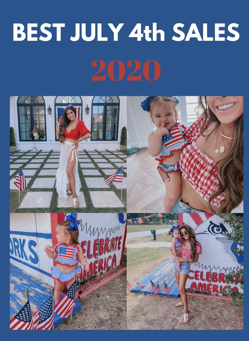 BEST JULY FOURTH SALES 2020, Emily Gemma   July 4th Sales by popular US life and style blog, The Sweetest Thing: Collage image of Emily Gemma and her baby girl wearing various red, white and blue outfits.