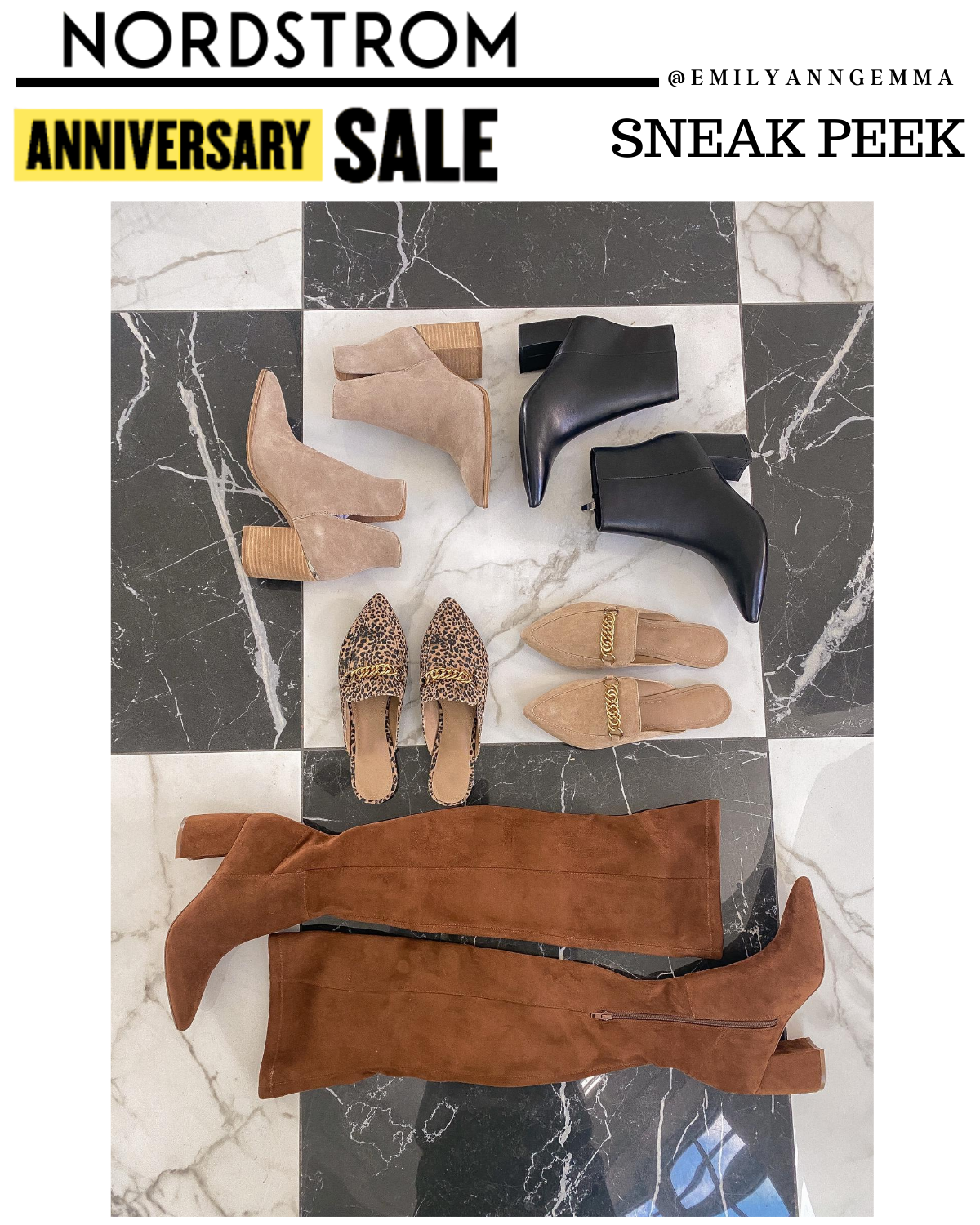 nsale 2020 boots and booties, nordstrom anniversay sale 2020 blog posts, nsale preview 2020, emily ann gemma, the sweetest thing blog | Nordstrom Anniversary Sale by popular US fashion blog, The Sweetest Thing: image of various Nordstrom mules, Nordstrom ankle boots, and Nordstrom knee high boots.