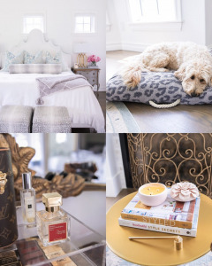 Home decor, Nordstrom Sale 2020, NSALE 2020, Emily Ann Gemma  Instagram Recap by popular US life and style blog, The Sweetest Thing: collage image of The Chic Nest bed, perfume, stacked books, candle snuffer, and a dog laying on a leopard print dog bed.