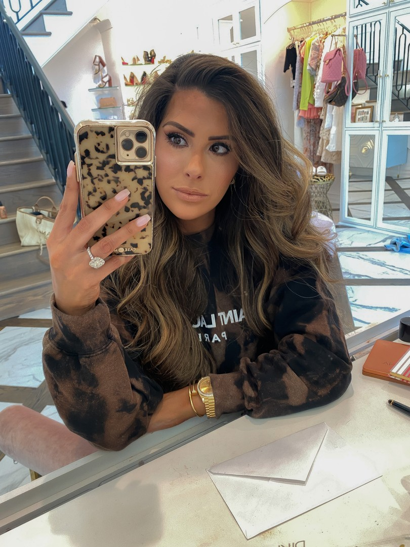 Tie-dye sweatshirt, Makeup look, Emily Ann Gemma  Instagram Recap by popular US life and style blog, The Sweetest Thing: image of Emily Gemma wearing a Dyez Collection sweatshirt and Rolex watch.