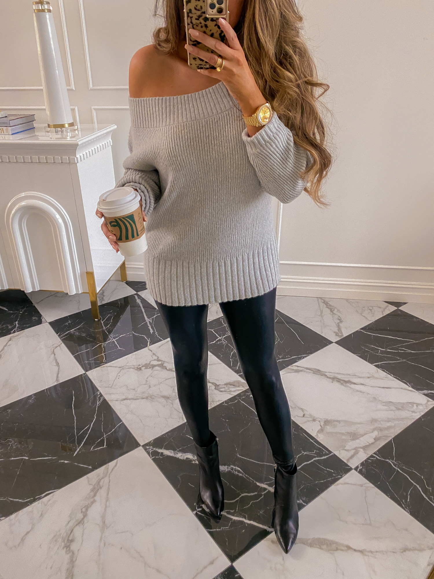 NSALE 2020, Nordstrom Sale 2020, Fall Fashion, Leather leggings, Emily Ann Gemma  Instagram Recap by popular US life and style blog, The Sweetest Thing: image of Emily Gemma wearing a Chelsea28 sweater, Commando leggings, Steve Madden ankle boots, and Rolex watch.
