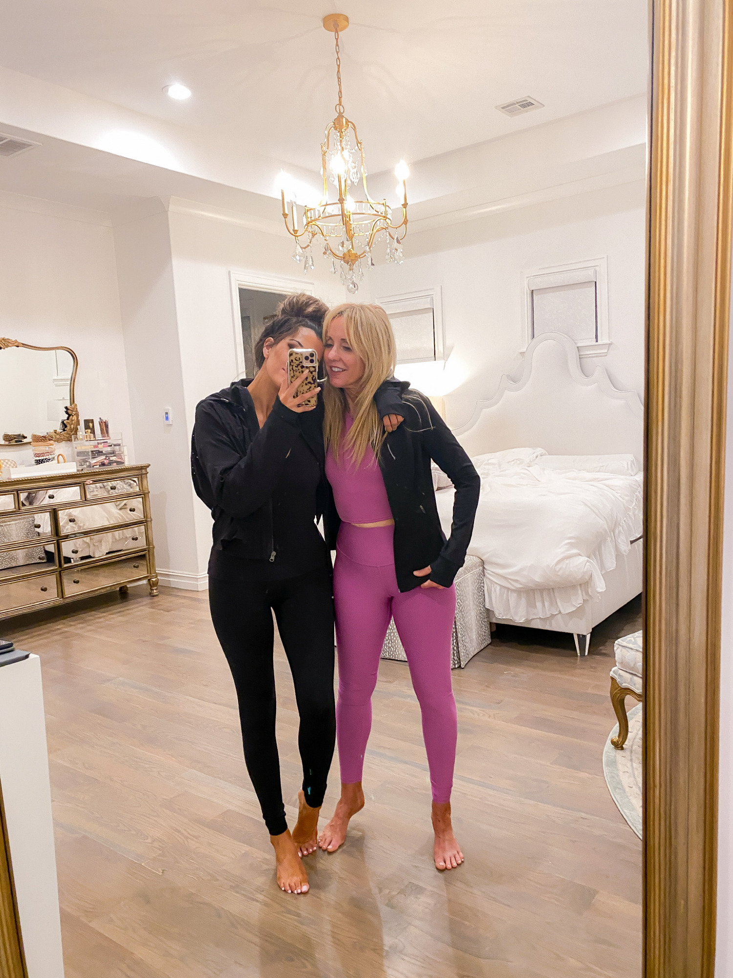 Workout outfits, NSALE 2020, Nordstrom Sale 2020, Athleisure, Emily Ann Gemma  Instagram Recap by popular US life and style blog, The Sweetest Thing: image of Emily Gemma standing with her mom and wearing a Zella jacket, Commando leggings, Alo leggings, and Alo top.