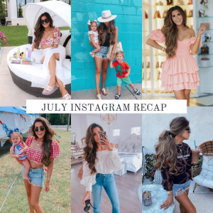 JULY Instagram recap | Instagram Recap by popular US life an style blog, The Sweetest Thing: collage image of Emily Gemma wearing various outfits.