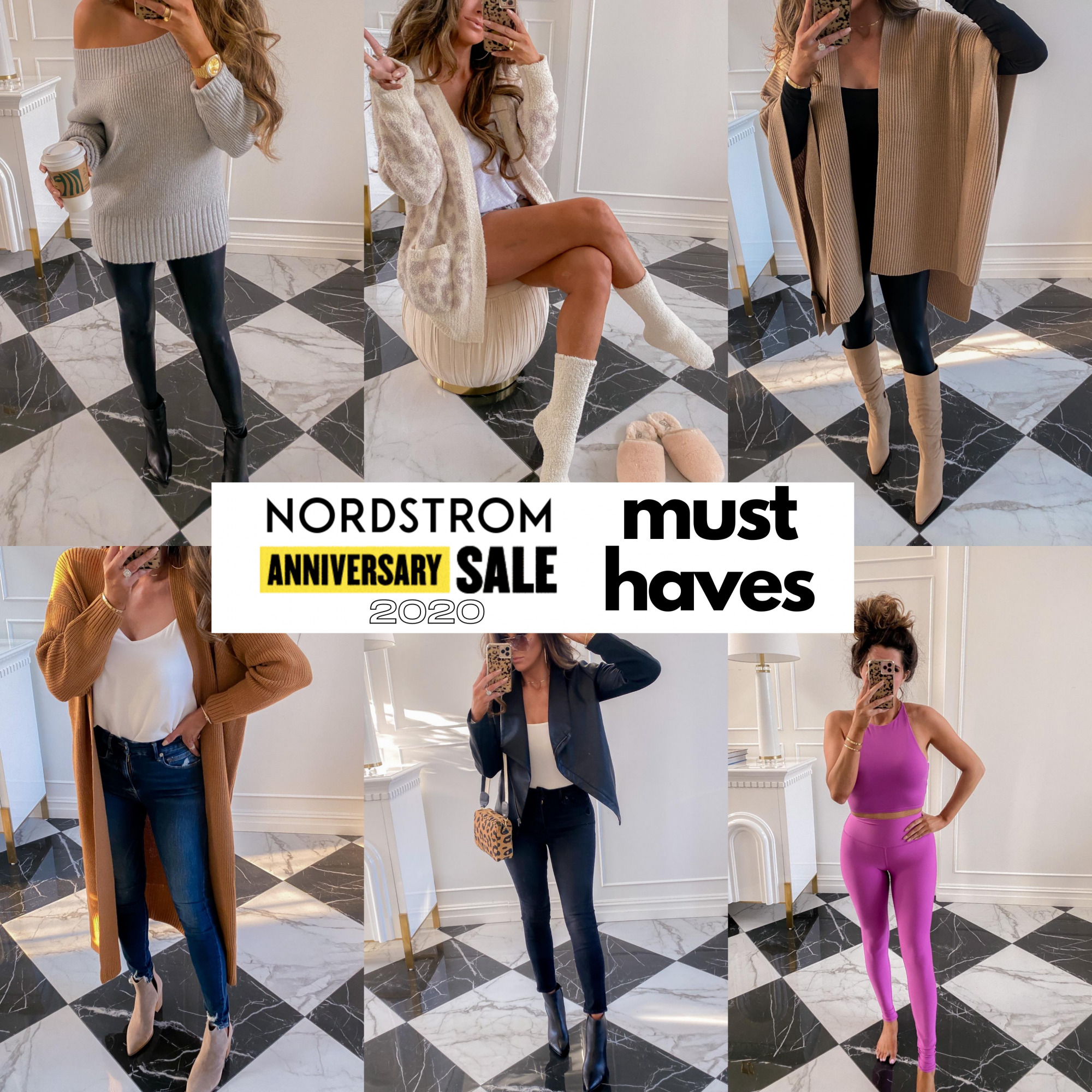 Nordstrom Anniversary Sale 2020 Try On, NSALE 2020 blogger picks, Nordstrom anniversary sale top picks must haves | Nordstrom Anniversary Sale by popular US fashion blog, The Sweetest Thing: collage image of Emily Gemma wearing Nordstrom cardigans, sweaters, jeans, leggings and boots.