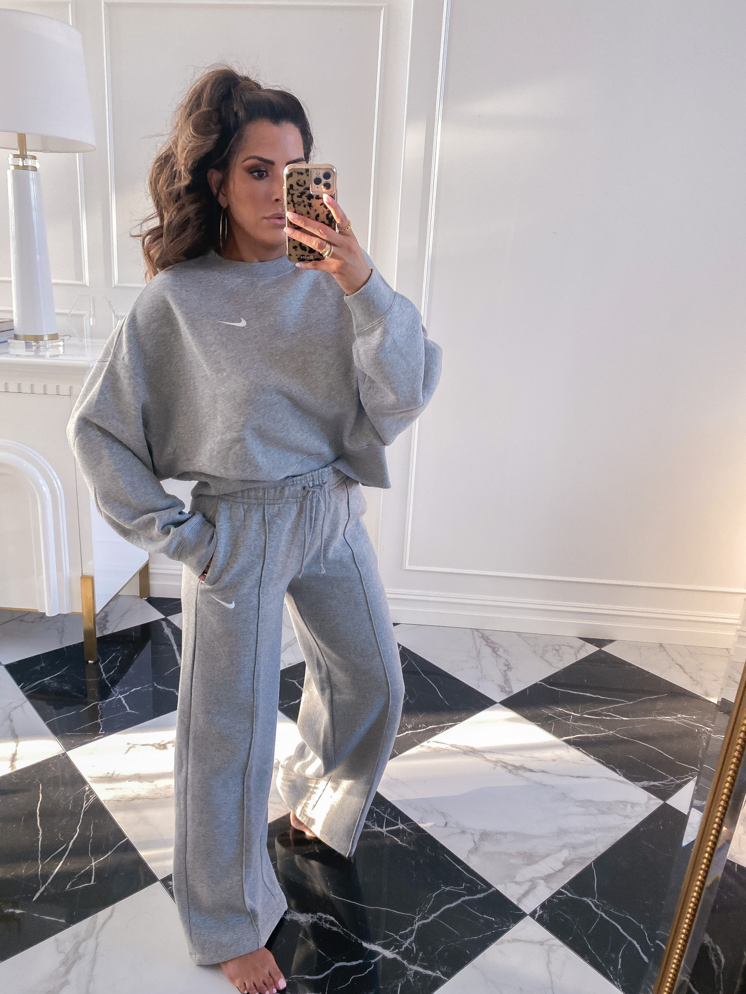 Nordstrom Anniversary Sale 2020 try on guide, NSALE 2020 nike womens, emily gemma | Nordstrom Anniversary Sale by popular US fashion blog, The Sweetest Thing: image of Emily Gemma wearing a NIKE Crewneck Sweatshirt and NIKE Palazzo Pants.