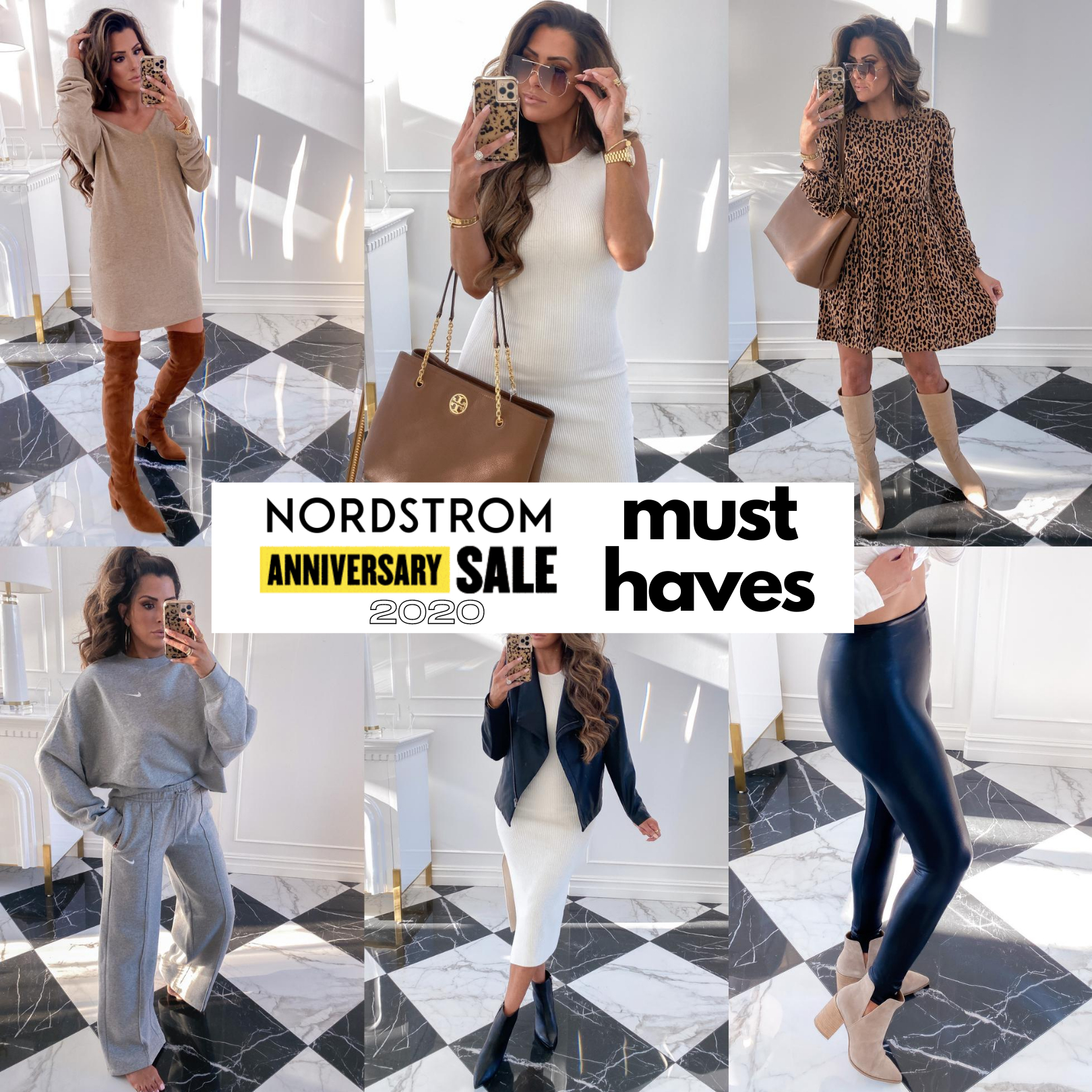 Nordstrom Anniversary sale 2020 try on, NSALE 2020 top picks, Nordstrom anniversary sale shoes, emily gemma | Nordstrom Anniversary Sale by popular US fashion blog, The Sweetest Thing: collage image of Emily Gemma wearing various Nordstrom clothing items and accessories.