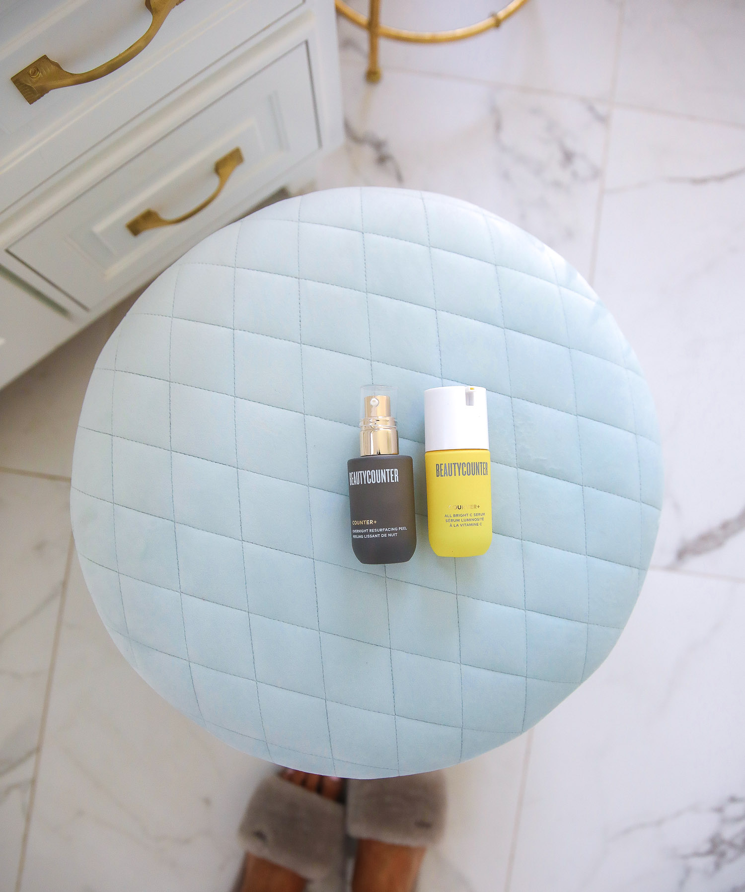 beauty counter review vitamin C, Beauty Counter Sephora overnight resurfacing gel, emily ann gemma | Beautycounter Products by popular US beauty blog, The Sweetest Thing: image of Beautycounter Counter+ Overnight Resurfacing Peel and Beautycounter Counter+ All Bright C Serum.
