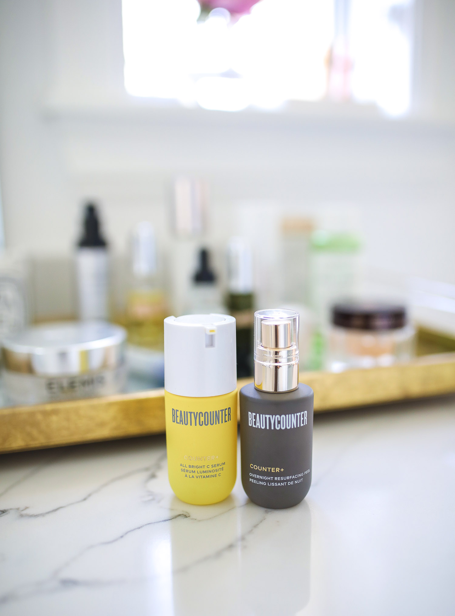 beauty counter review vitamin C, Beauty Counter Sephora overnight resurfacing gel, emily ann gemma |  Beautycounter Products by popular US beauty blog, The Sweetest Thing: image of Beautycounter Counter+ Overnight Resurfacing Peel and Beautycounter Beautycounter Counter+ All Bright C Serum.