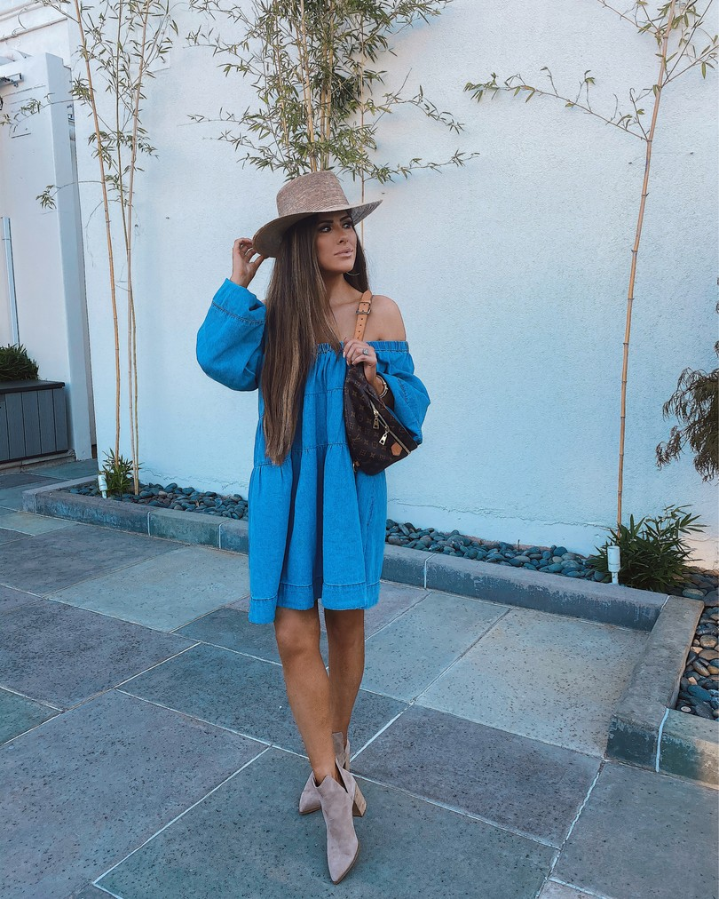 Summer fashion, Free People Dress, Fall Booties, Louis Vuitton Bum Bag, Emily Ann Gemma  Instagram Recap by popular US life and style blog, The Sweetest Thing: image of Emily Gemma wearing a Free People dress, Lack of Color Hat, Steve Madden suede ankle boots, and Louis Vuitton bum bag.
