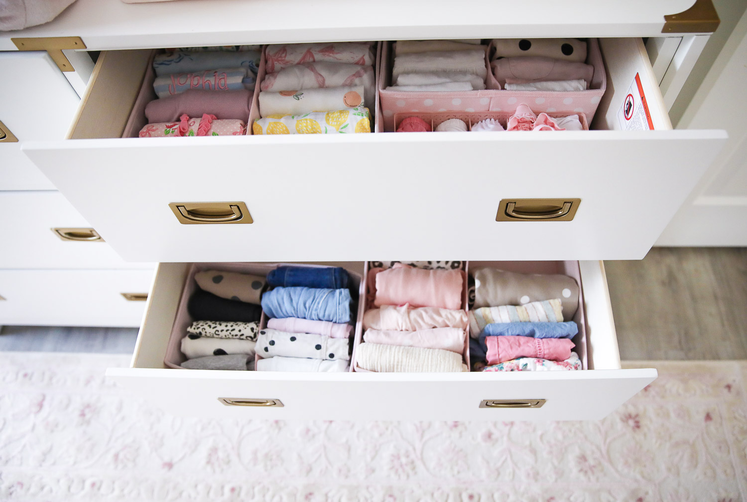walmart kids home organization must haves, playroom organization ideas, emily gemma, the sweetest thing blog | Playroom Organization by popular US life and style blog, The Sweetest Thing: image of a dresser drawer organized with Walmart mDesign Fabric Child/Kids Drawer Organizer and Walmart youlaike 5 Cells Plastic Organizer Storage Box Tie Bra Socks Drawer Cosmetic Divider.