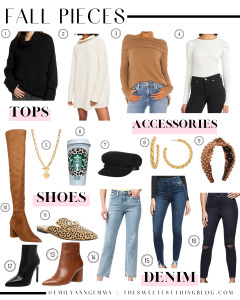 fall outfit pieces, fall fashion, fall sweaters, booties, sweaters, ripped jeans | Fall Clothing by popular US fashion blog, The Sweetest Thing: collage image of a Nordstrom Chelsea 28 Cowl Neck Sweater, Free People Ottoman Slouchy Tunic, Revolve Free People Juicy Long Sleeve Top, Express Ruched Sleeve Crew Neck Sweater, The Styled Collection CELTIC COIN TOGGLE, Etsy Personalized Cheetah Print hot Starbucks cup, Revolve Brixton Fiddler Cap, The Styled Collection UNITY HOOPS, and ShopBop Lele Sadoughi Velvet Embellished Headband, Steve Madden Over The Knee Boot, Steve Madden Forever Chain Pointed Toe Mule, Revolve Freddie Bootie Tony Bianco brand:Tony Bianco, Nadalie Pointed Toe Bootie STEVE MADDEN, Express Flying Monkey High Waisted Distressed Cropped Straight Jeans, Nordstrom Good Waist Distressed High Waist Ankle Skinny Jeans GOOD AMERICAN, and Nordstrom Good Curve Ripped Crop Skinny Jeans GOOD AMERICAN.