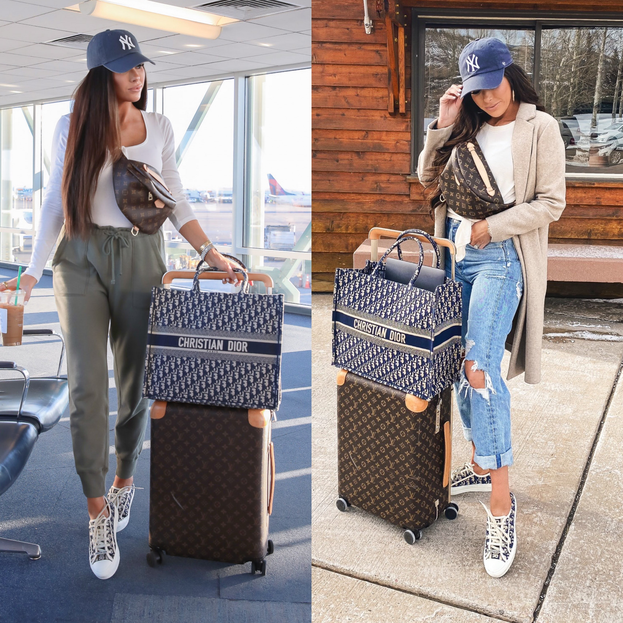 LTK day fall 2020, fall fashion outfit ideas pinterest 2020, dior oblique book tote, louis vuitton horizon carry on |  Sale Alert by popular US fashion blog, The Sweetest Thing: collage image of Emily Gemma wearing a Abercrombie and Fitch jeans, New York Yankee hat, white t-shirt, and pushing a Louis Vuitton suitcase and Christian Dior bag.