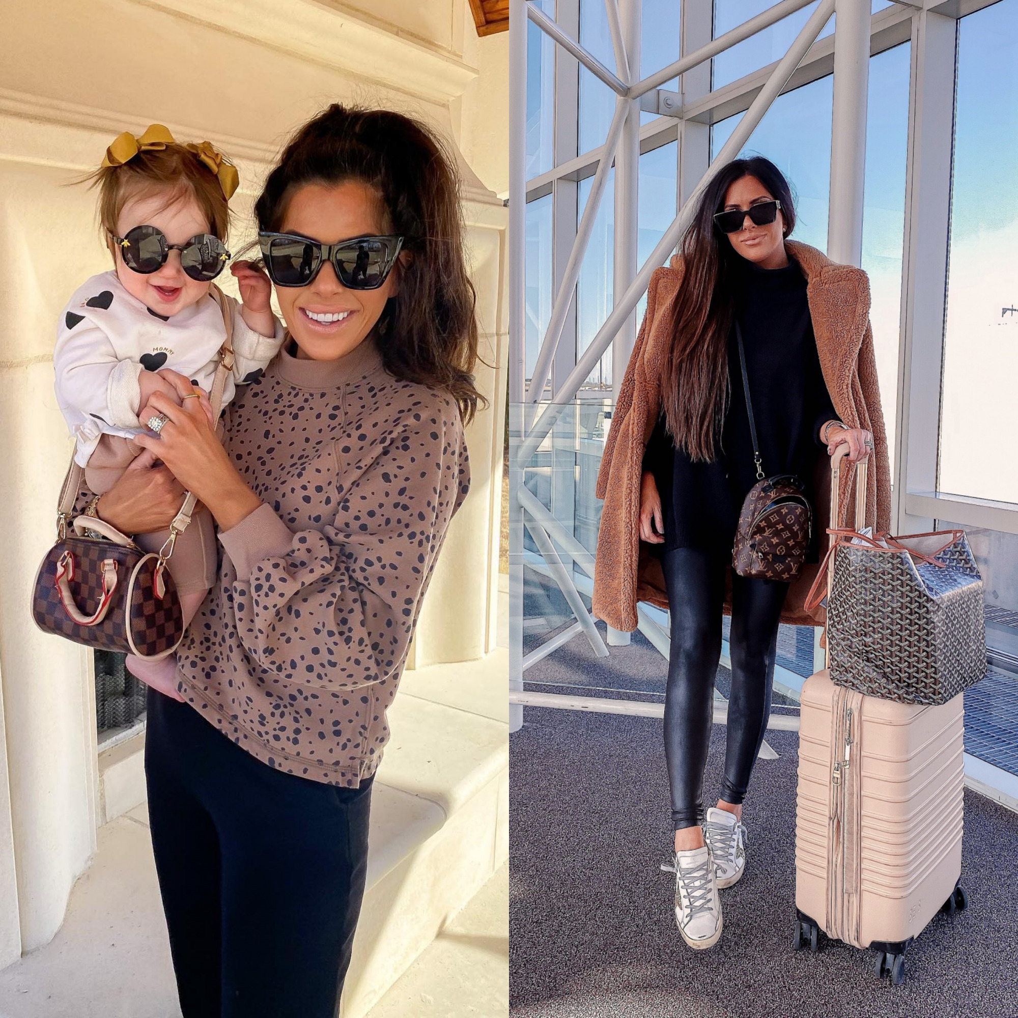 LTK day fall 2020, fall fashion outfit ideas pinterest 2020, emily ann gemma3 |  Sale Alert by popular US fashion blog, The Sweetest Thing: collage image of Emily Gemma wearing a leopard sweatshirt, black leather leggings, and a sherpa jacket.
