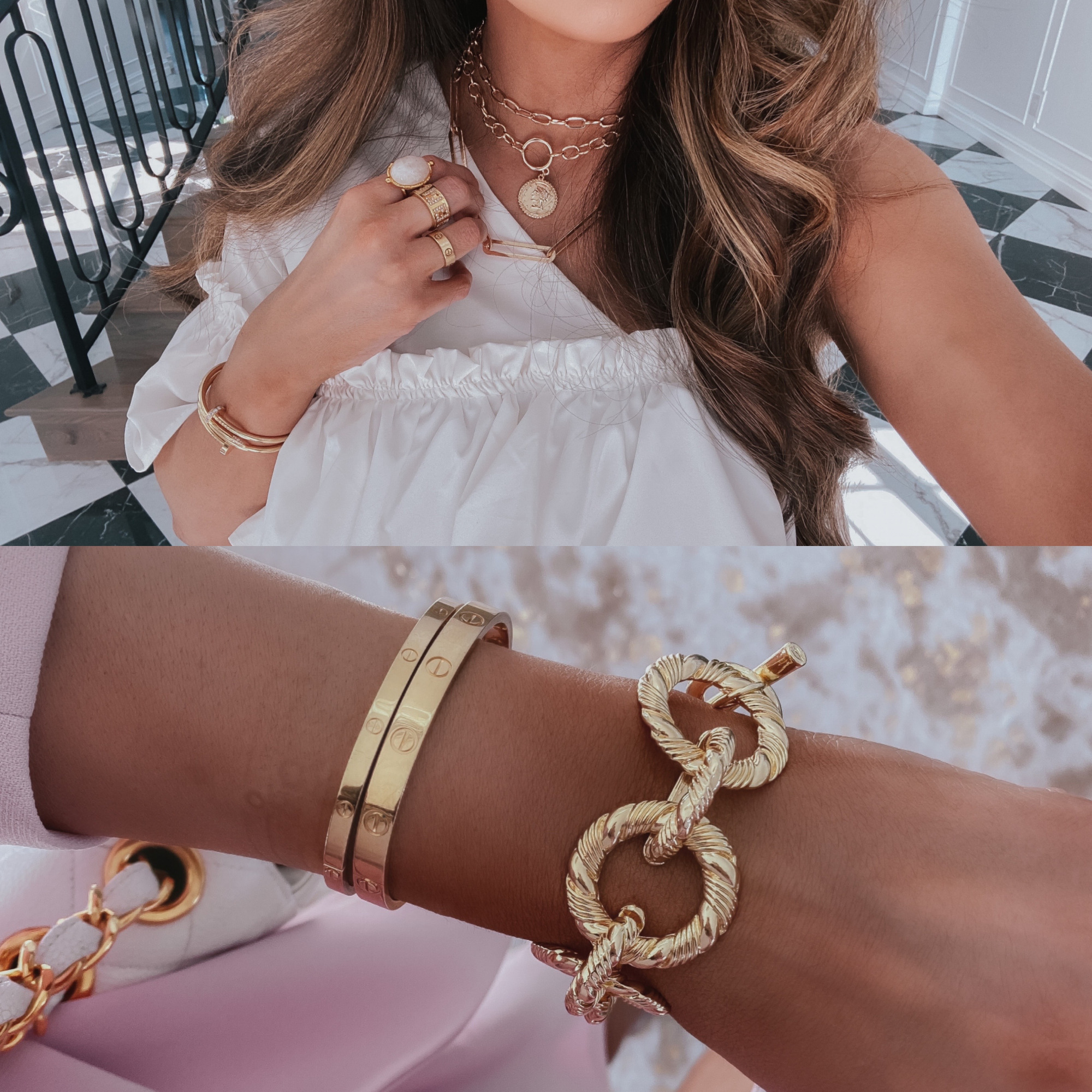 LTK day fall 2020, the styled collection jewelry, emily ann gemma |  Sale Alert by popular US fashion blog, The Sweetest Thing: collage image of Emily Gemma wearing The Styled Collection jewelry.
