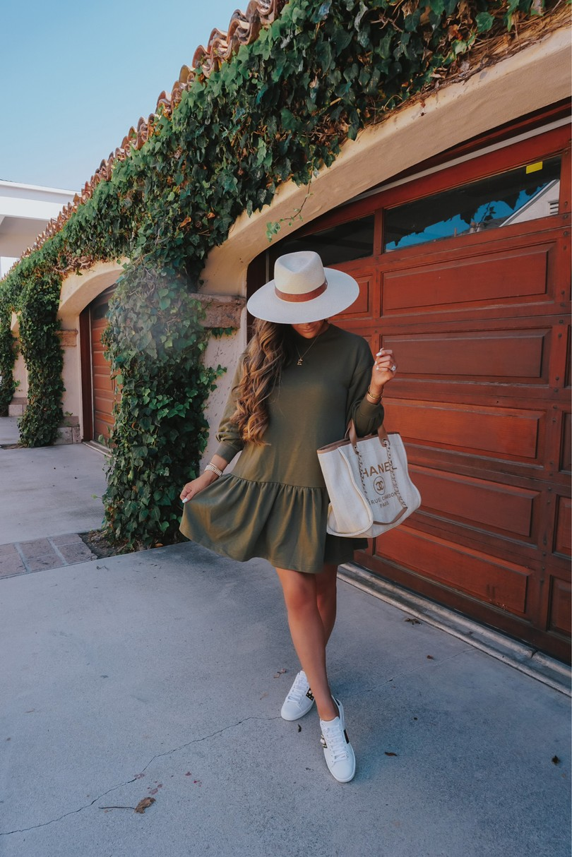 Instagram Recap by popular US lifestyle blog, The Sweetest Thing: image of Emily Gemma wearing a green H&M dress, Natalie B Jewelry, Rag & Bone hat, Gucci sneakers and holding a Chanel bag.