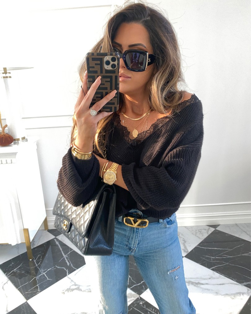 Instagram Recap by popular US lifestyle blog, The Sweetest Thing: image of Emily Gemma wearing a H&M black sweater, H&M jeans, Valentino belt, 8 other reasons necklace, and Chanel bag.