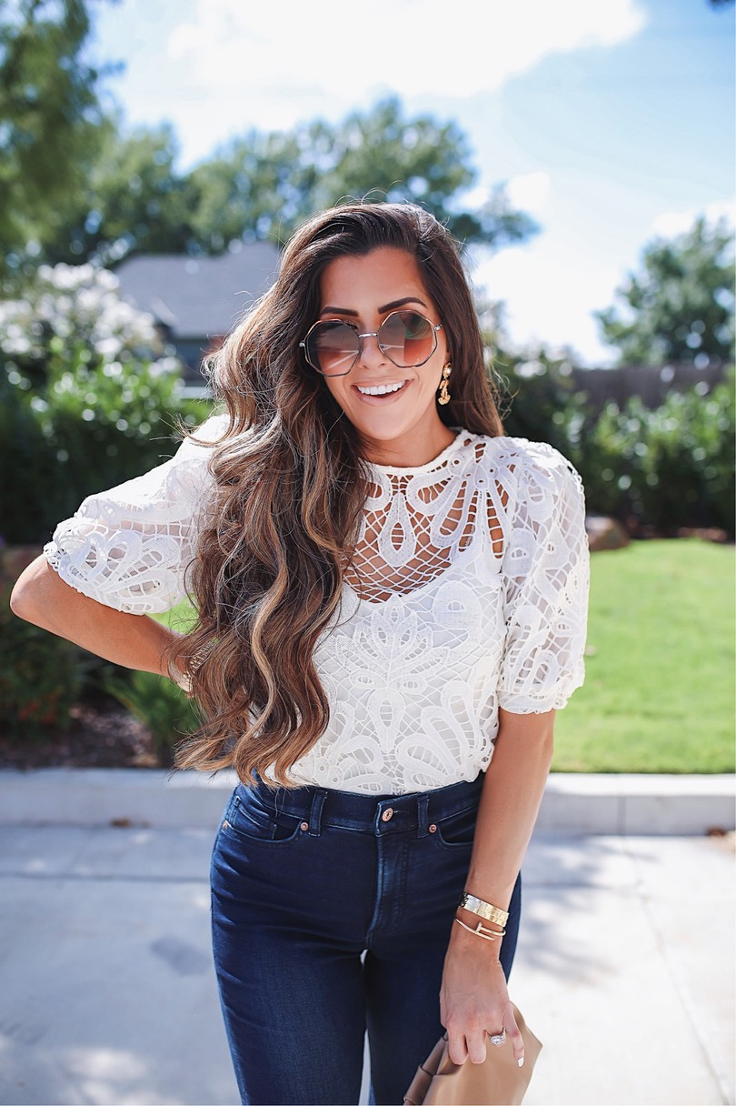 Instagram Recap by popular US lifestyle blog, The Sweetest Thing: image of Emily Gemma wearing a white lace express top, Express jeans, and Express sunglasses.