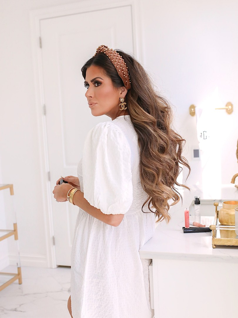 Instagram Recap by popular US lifestyle blog, The Sweetest Thing: image of Emily Gemma wearing a white eyelet H&M dress, Chanel earrings, Cartier bracelets and Lele Sandoughi headband.