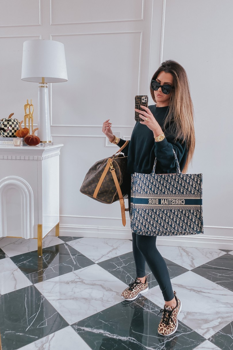 Instagram Recap by popular US lifestyle blog, The Sweetest Thing: image of Emily Gemma wearing Celine sunglasses, Lululemon leggings, leopard print APL sneakers, and holding a Christian Dior bag and Louis Vuitton bag.