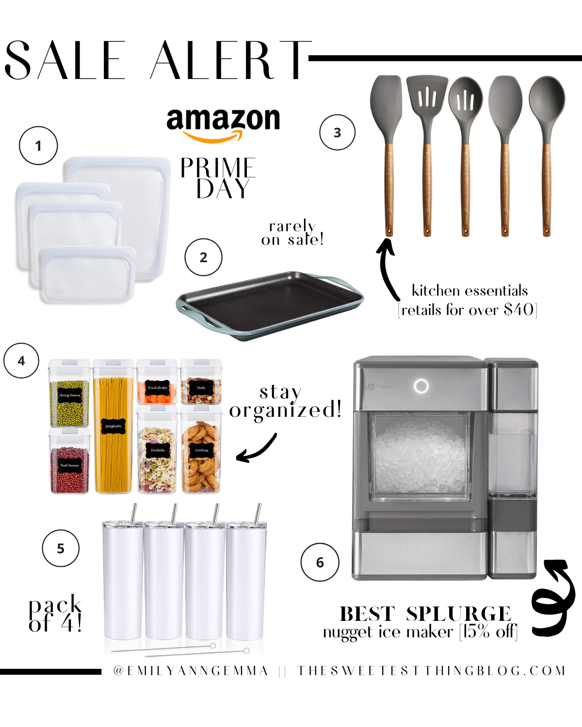 Prime Day by popular US life and style blog, The Sweetest Thing: collage image of a pebble ice machine, acrylic storage containers, kitchen utensils, Le Creuset cooking griddle, Stasher food bags, and insulated stainless steel tumblers.