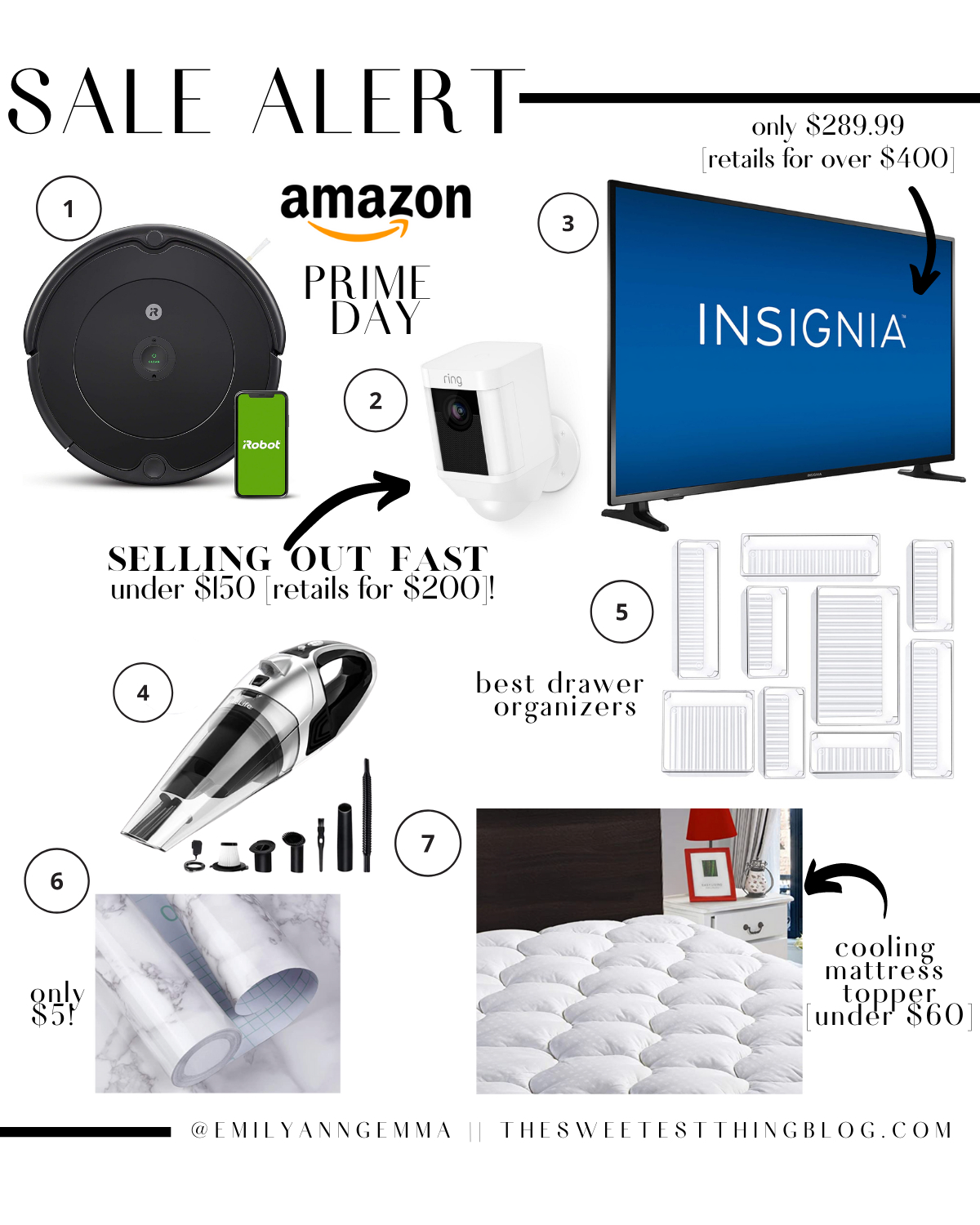 Prime Day by popular US life and style blog, The Sweetest Thing: collage image of a Insignia flat screen t.v., irobot roomba vacuum, acrylic trays, cooling mattress topper, ring camera, and a handheld vacuum,.