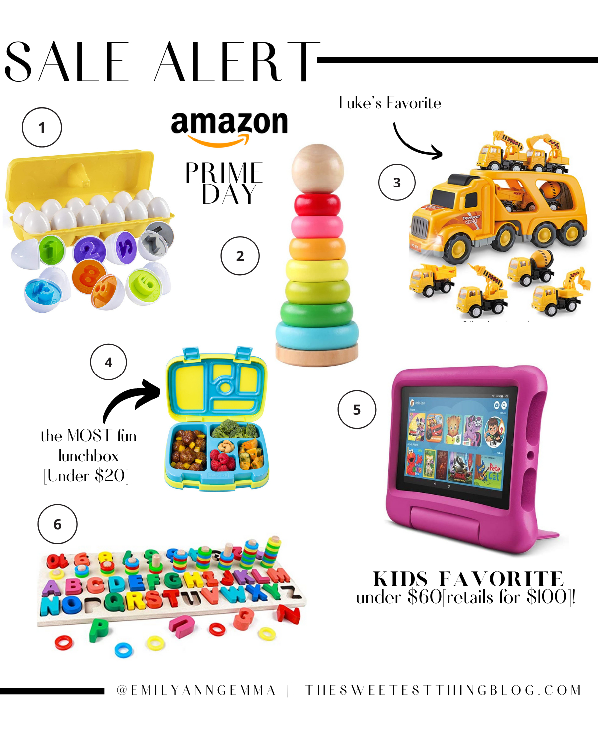 Prime Day by popular US life and style blog, The Sweetest Thing: collage image of Amazon kindle, bento box, alphabet puzzle, stacking rings, construction trucks, and Stem learning eggs.