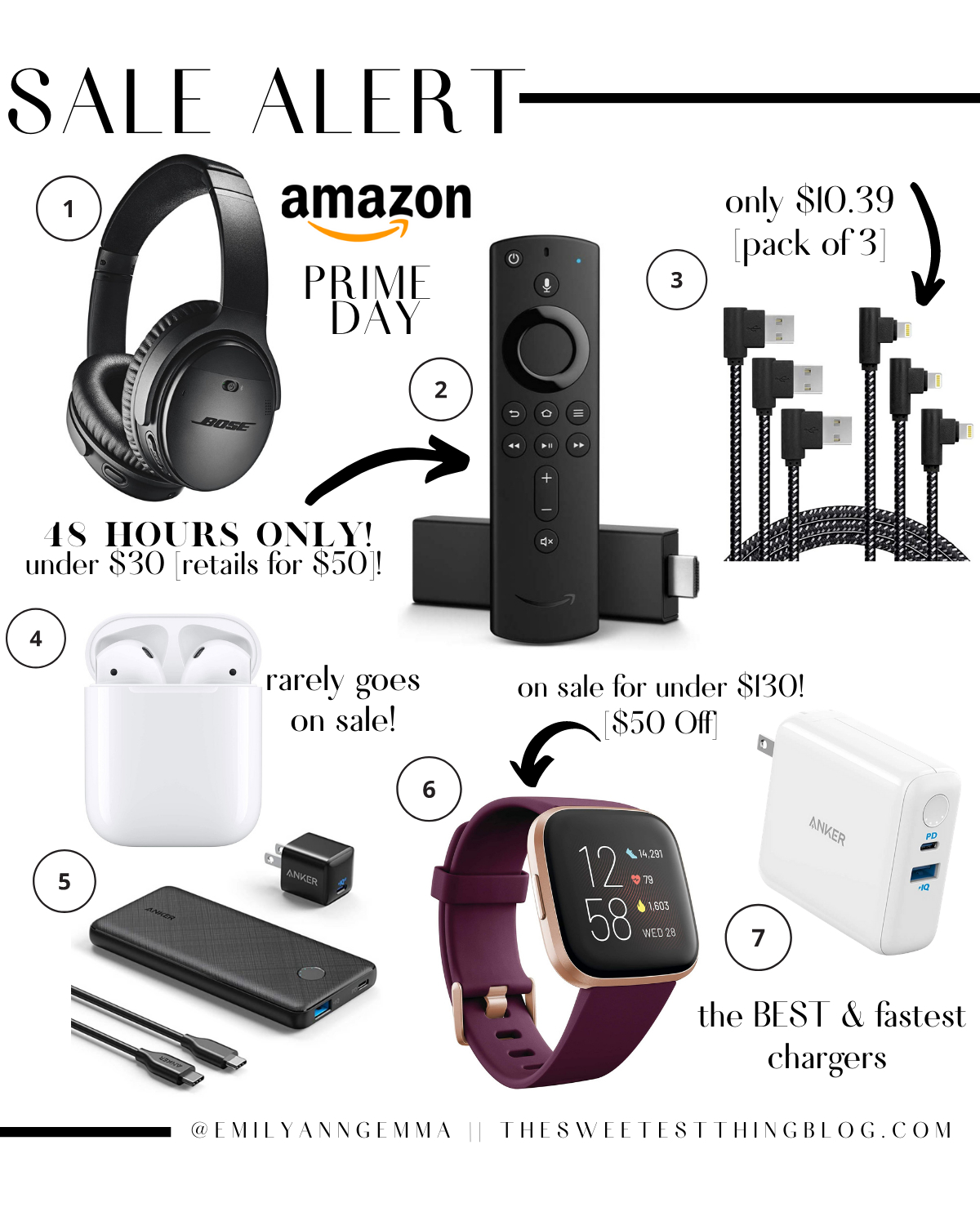 Prime Day by popular US life and style blog, The Sweetest Thing: collage image of Bose head phones, Airpods, Amazon Fire Stick, Anker charger, Anker power strip, Anker power cords, Fit Bit Versa.