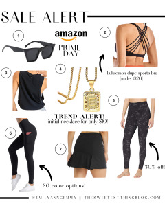 Prime Day by popular US life and style blog, The Sweetest Thing: collage image of black sunglasses, black camo leggings, black sports bra, gold initial necklace, black workout tank, and black tennis skirt.