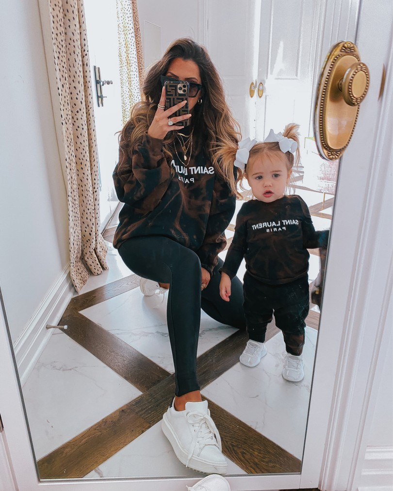 Instagram Recap by popular US lifestyle blog, The Sweetest Thing: image of Emily Gemma wearing and her daughter Sophie wearing a Nastik sweatshirt, Nastik sweatsuit, Styled Collection earrings, white hair bows, 8 Other Reasons necklace, and Steve Madden sneakers.