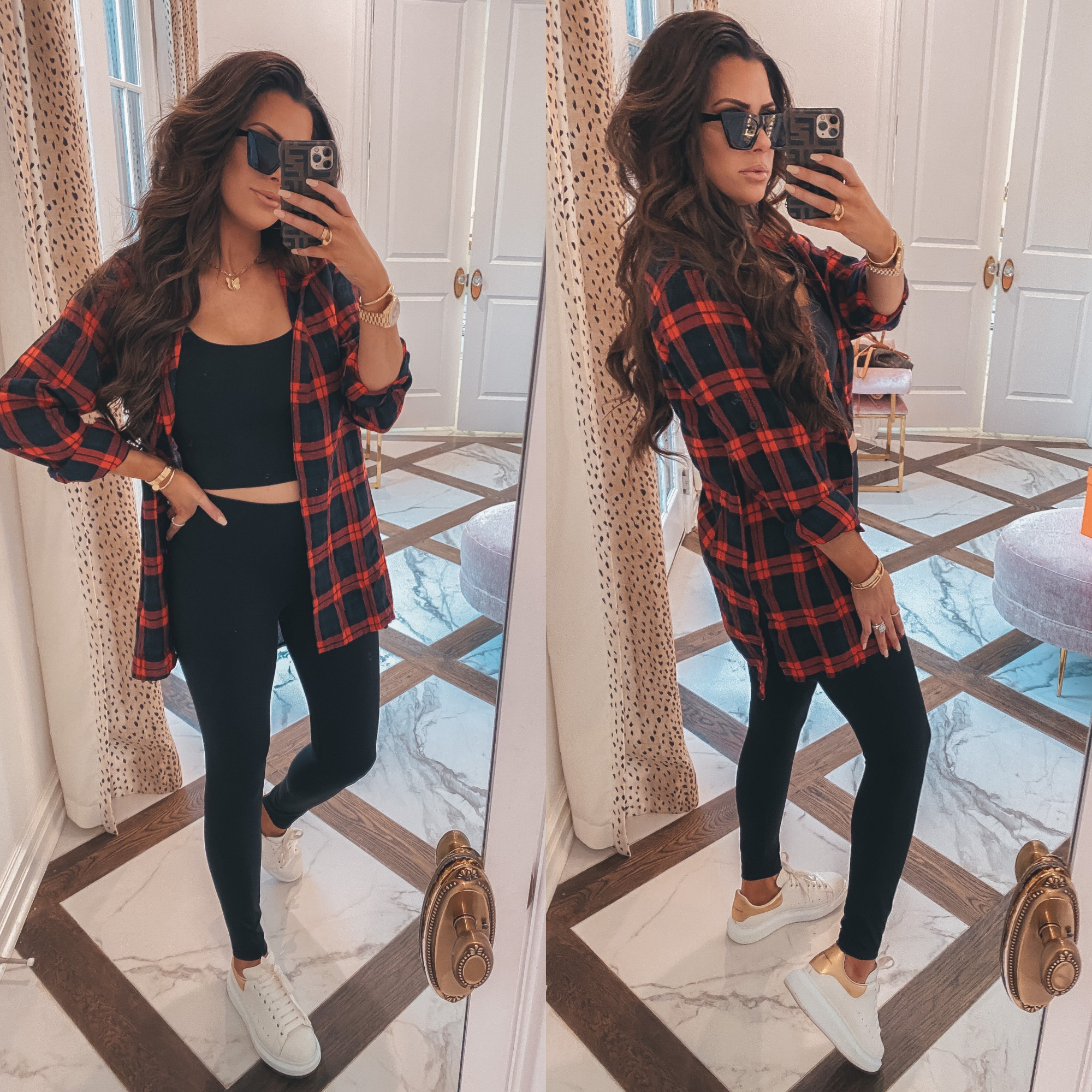 Thanksgiving Outfits by popular US fashion blog, The Sweetest Thing: image of Emily Gemma wearing a black cropped tank, oversized flannel shirt, black leggings, white platform sneakers, gold Rolex watch, Bracha necklace, The Styled Collection earrings, and holding a Louis Vuitton backpack.