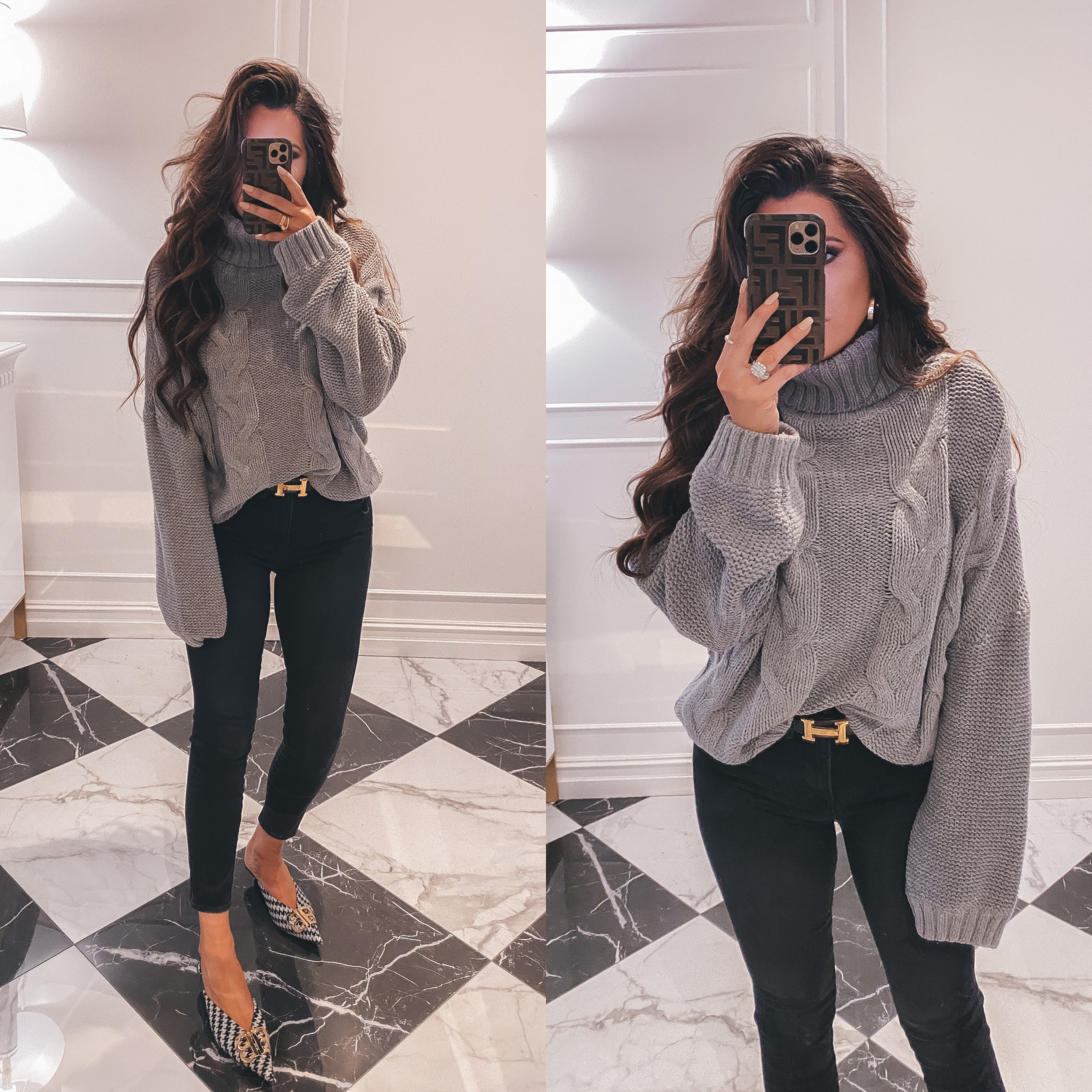 Thanksgiving Outfits by popular US fashion blog, The Sweetest Thing: image of Emily Gemma wearing a oversized mock neck sweater, Hermes belt, Good American jeans, Balenciaga shoes, Cartier rings and bracelets, Bracha necklace and The Styled Collection earrings.