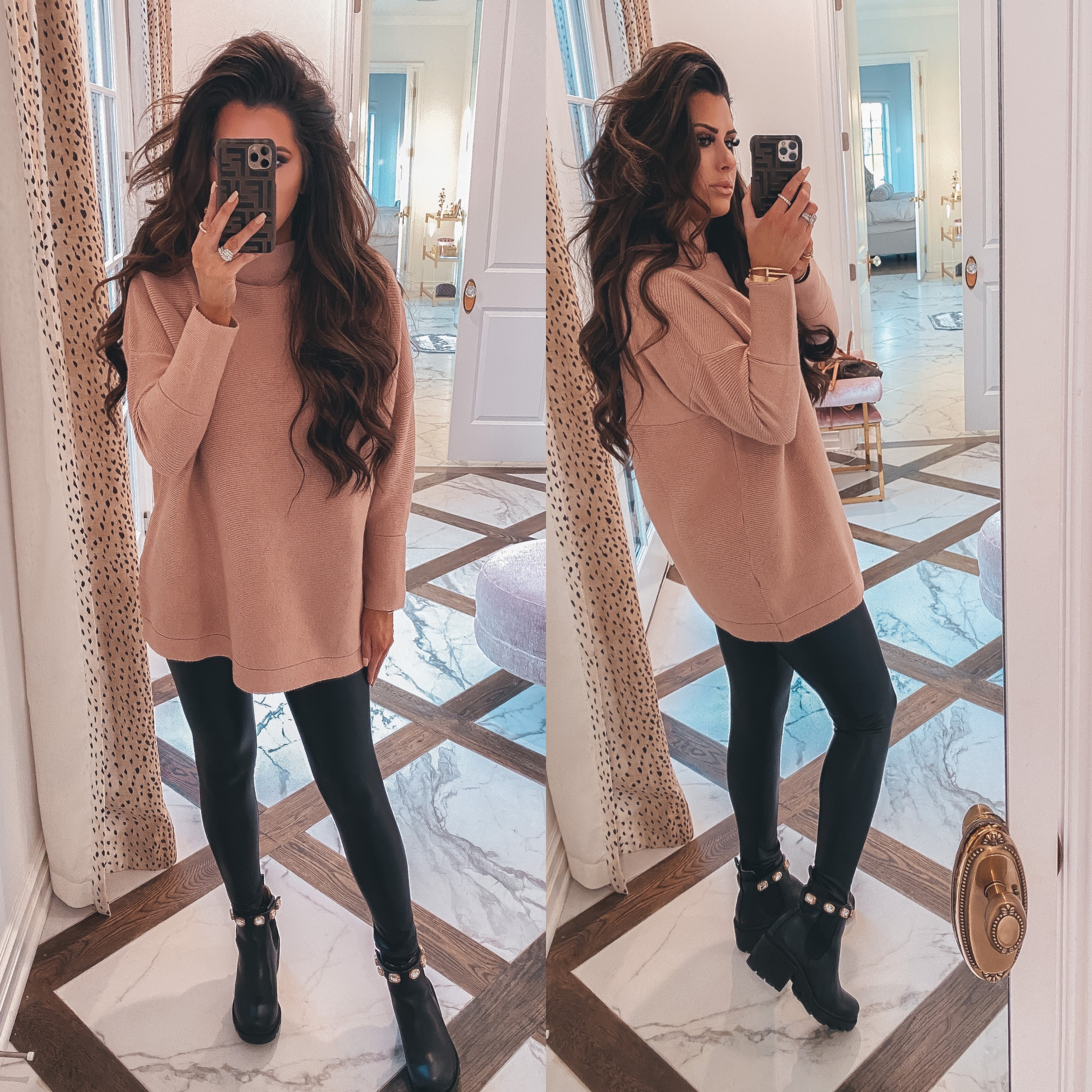 Thanksgiving Outfits by popular US fashion blog, The Sweetest Thing: image of Emily Gemma wearing a oversized pink mock neck sweater, black leather leggings, Steve Madden Boots, Cartier rings and bracelets, Bracha necklace and The Styled Collection earrings.