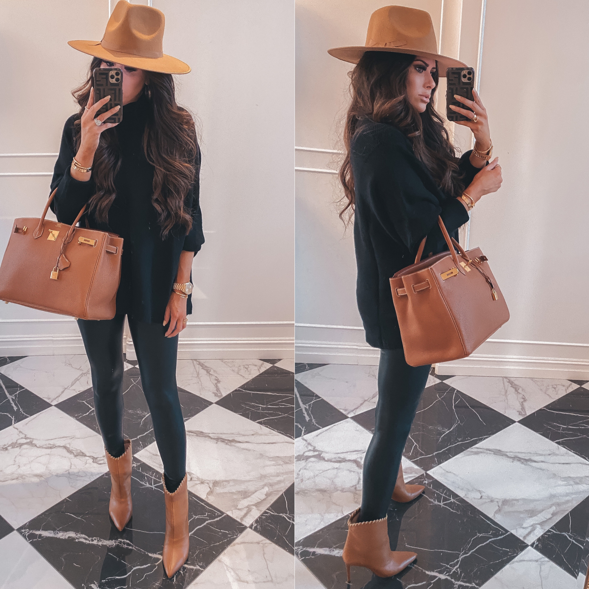 Thanksgiving Outfits by popular US fashion blog, The Sweetest Thing: image of Emily Gemma wearing a oversized black mock neck sweater, Commando black leather leggings, Schutz Boots, Cartier rings and bracelets, Bracha necklace, The Styled Collection earrings, tan felt fedora, and holding a Hermes Birkin bag.