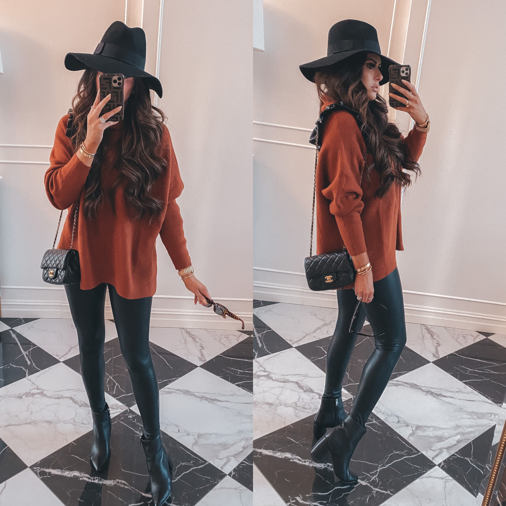 Thanksgiving Outfits by popular US fashion blog, The Sweetest Thing: image of Emily Gemma wearing a oversized mock neck sweater, Hermes belt, Commando black leather leggings, Steve Madden Boots, Cartier rings and bracelets, black floppy brim felt fedora, Bracha necklace and The Styled Collection earrings.