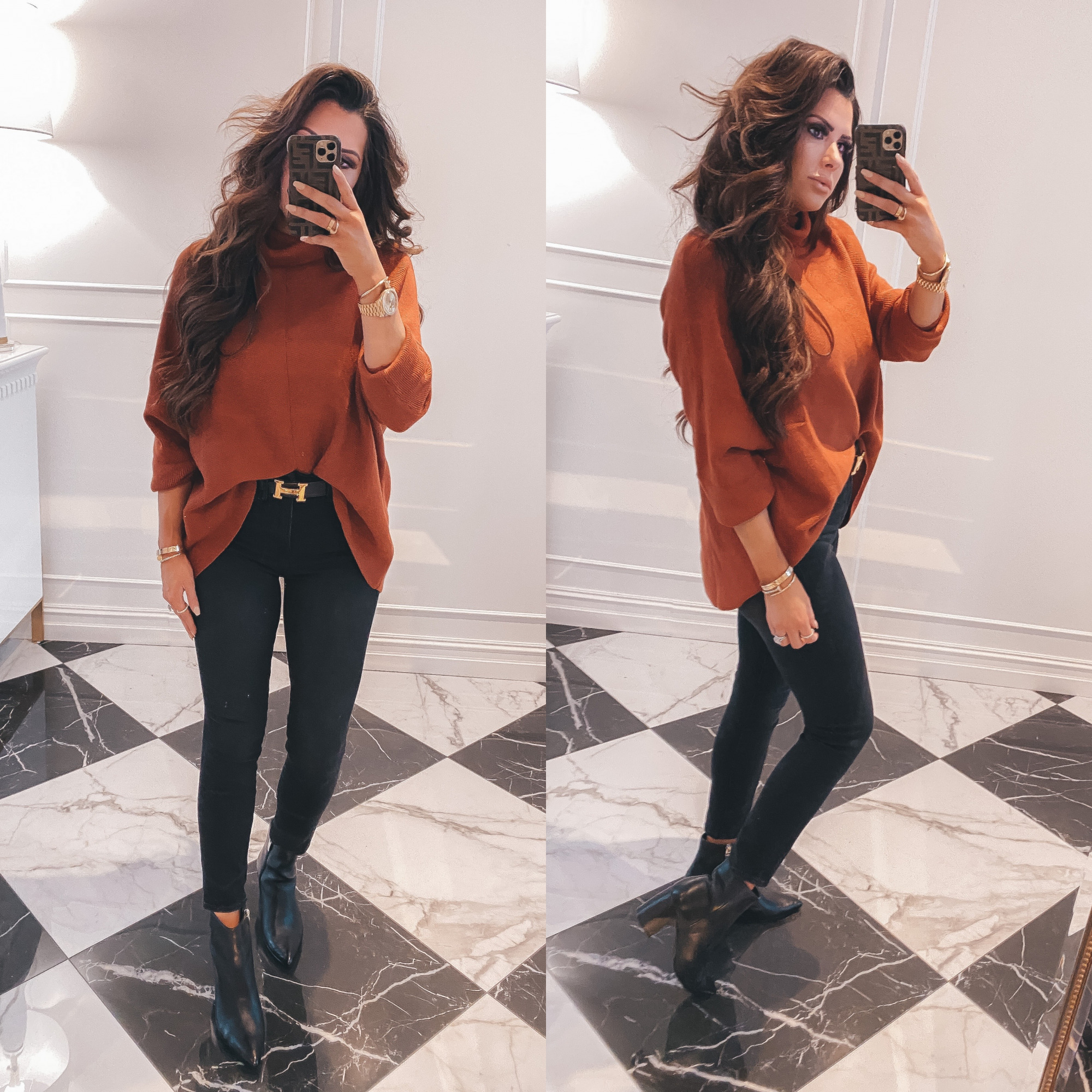 Thanksgiving Outfits by popular US fashion blog, The Sweetest Thing: image of Emily Gemma wearing a oversized mock neck sweater, Hermes belt, Good American jeans, Steve Madden Boots, Cartier rings and bracelets, Bracha necklace and The Styled Collection earrings.