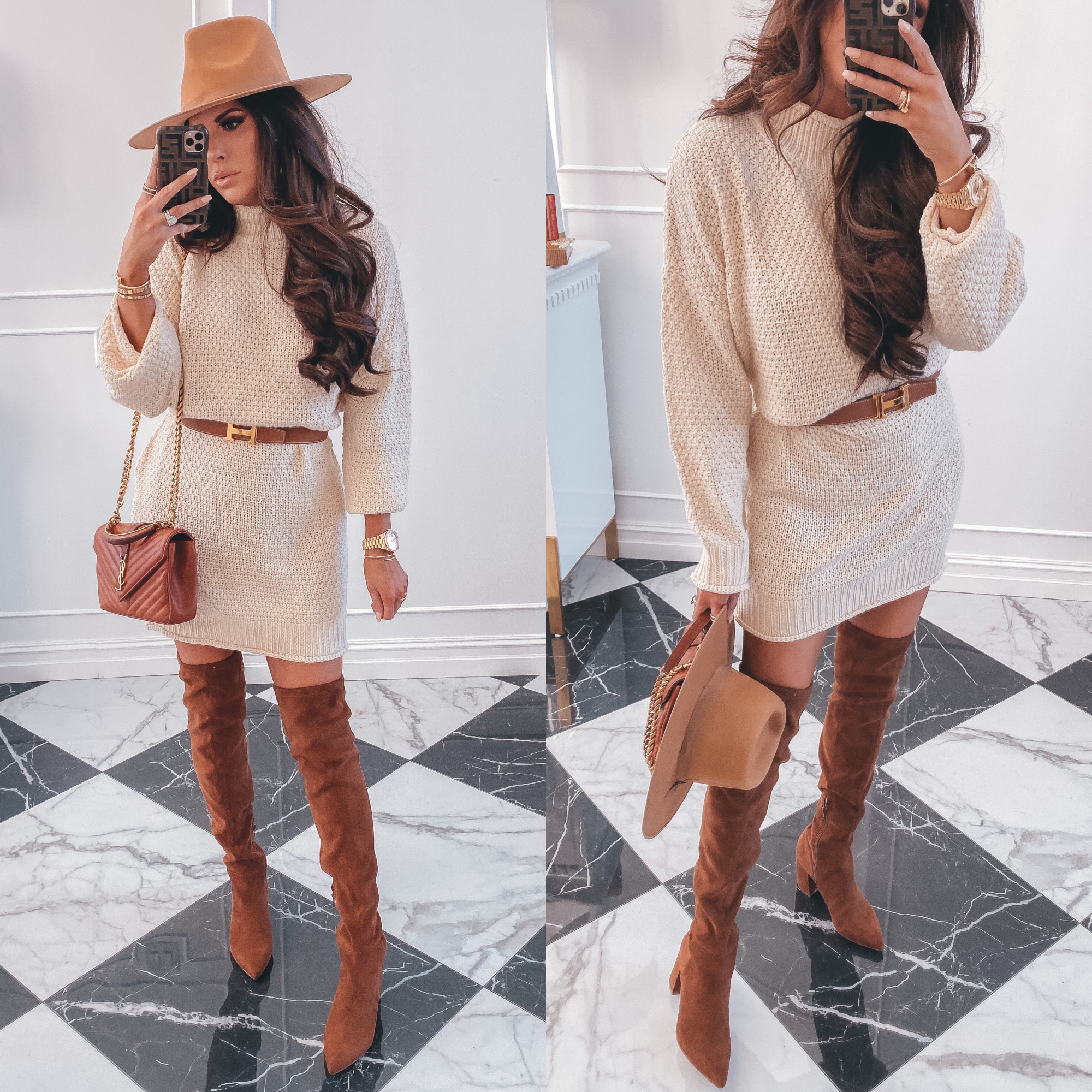 Thanksgiving Outfits by popular US fashion blog, The Sweetest Thing: image of Emily Gemma wearing a sweater dress with pockets, Hermes belt, tan felt fedora, Cartier rings and bracelets, Bracha necklace, Steve Madden Over the Knee boots, The Styled Collection earrings, and a YSL purse.