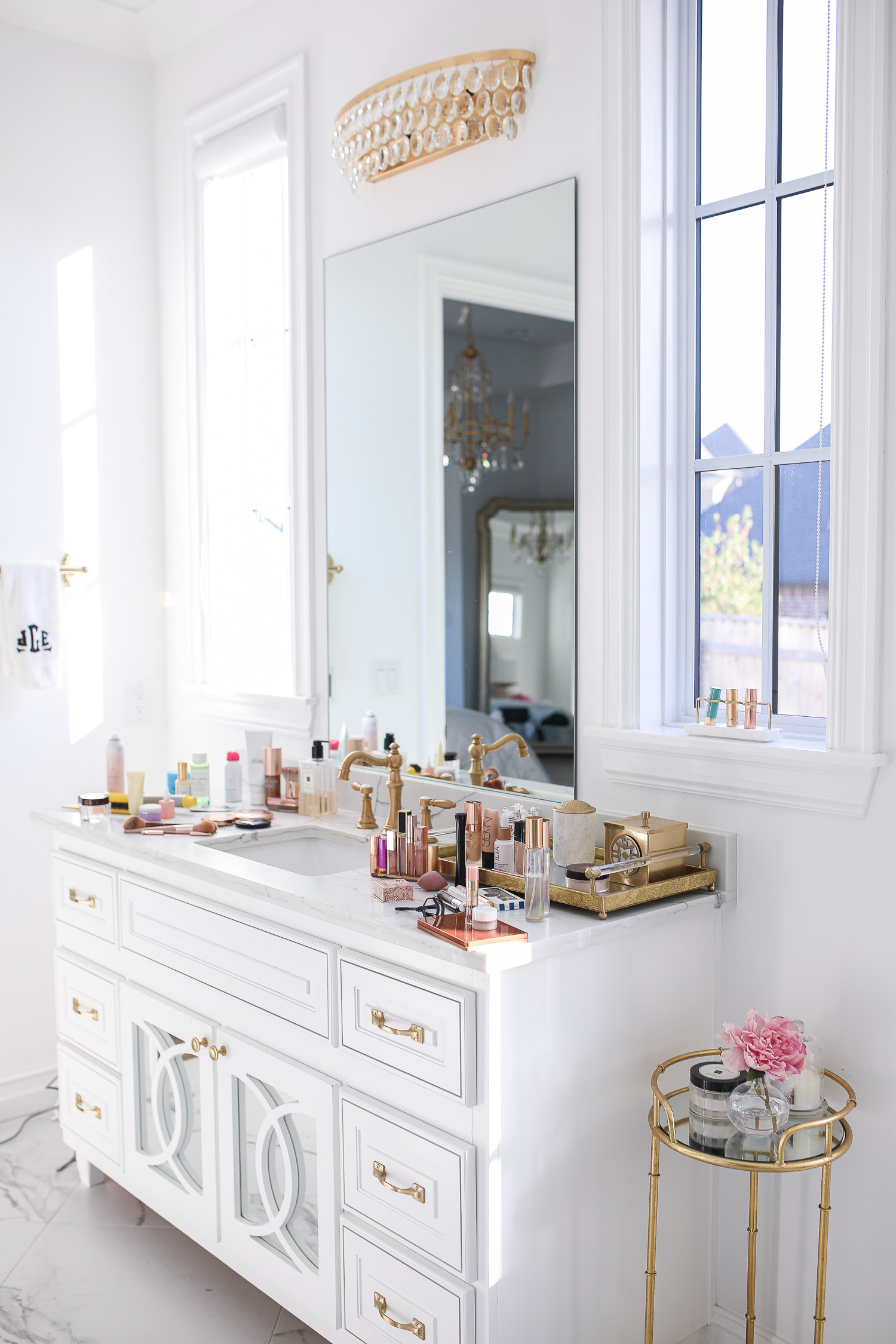 Sephora savings event fall 2020, beauty blogger sephora favorites fall 2020, emily ann gemma |Sephora Beauty Insider Sale by popular US beauty blog, The Sweetest Thing: image of bathroom vanity covered in Sephora beauty products.