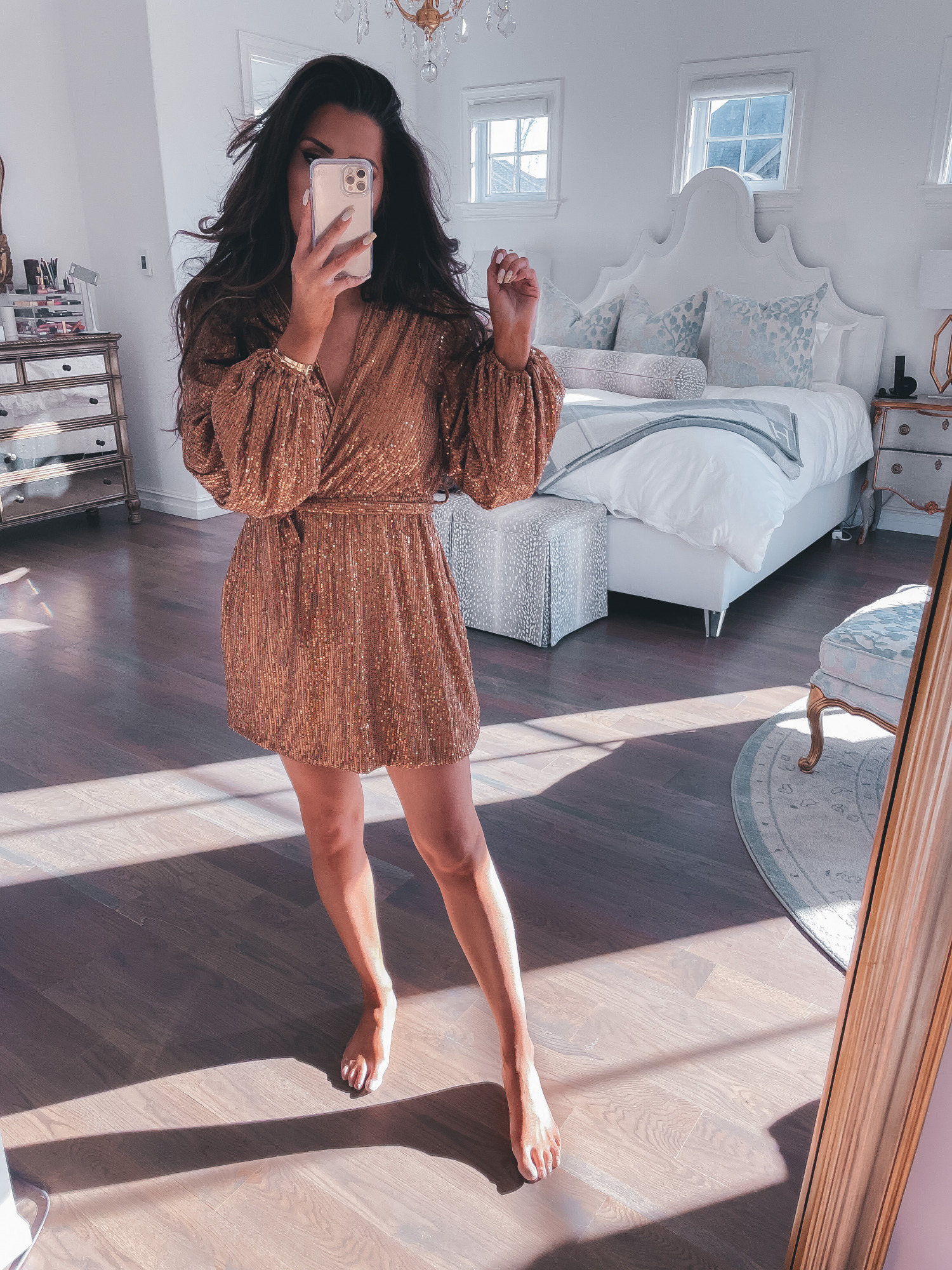 best black friday cyber monday sales 2020, top black friday sales 2020, emily gemma112 |2020 Black Friday Deals by popular US life and style blog, The Sweetest Thing: image of Emily Gemma wearing a copper color sequin dress.