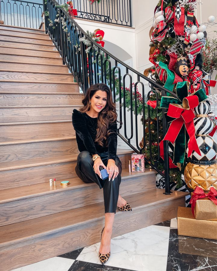 Emily gemma, christmas tree decorations, christmas tree Pinterest, black Velvet top, faux leather pants, leopard Christian Louboutin pumps, Holiday outfit ideas