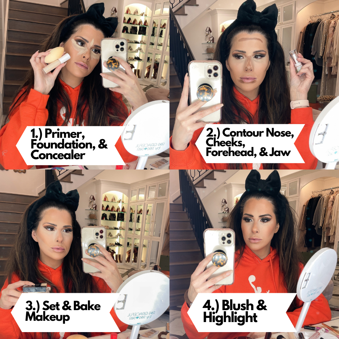 Best Drugstore Makeup by popular US beauty blog, The Sweetest Thing: collage image of Emily Gemma applying drugstore makeup.