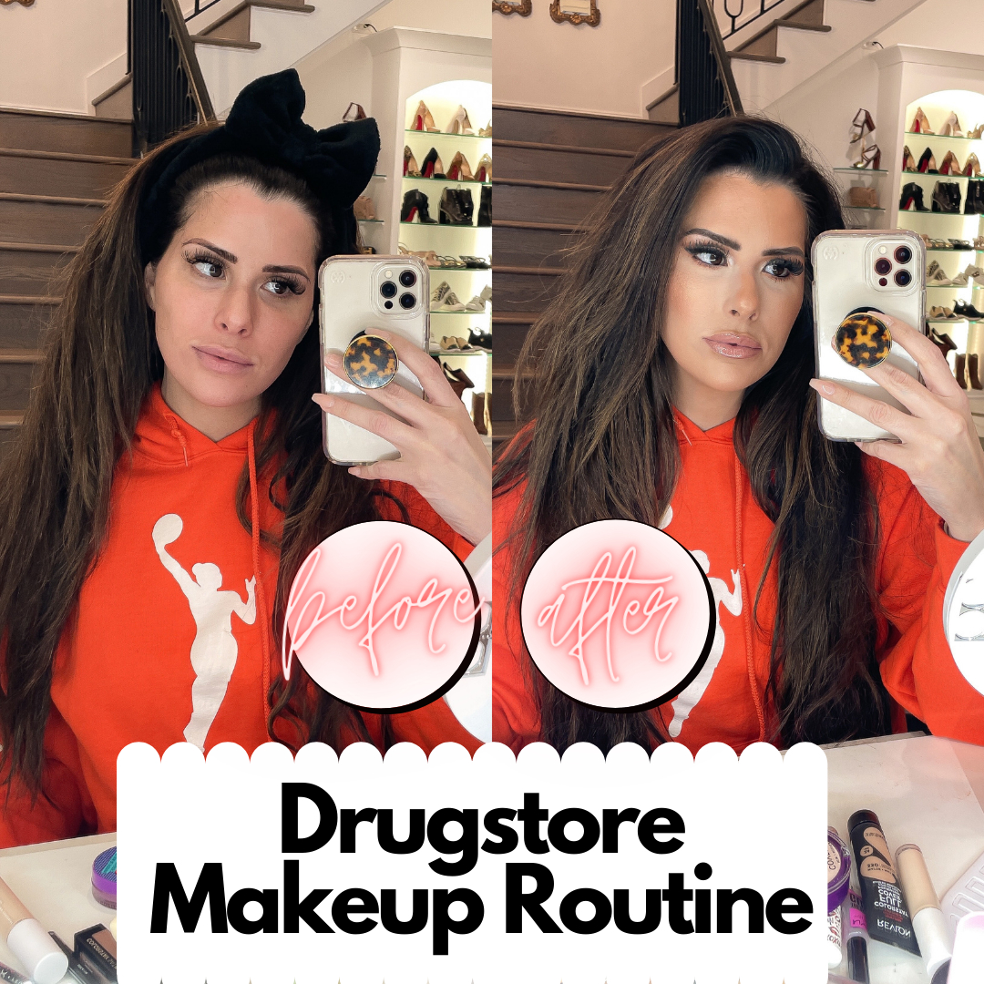 Best Drugstore Makeup by popular US beauty blog, The Sweetest Thing: side by side image of a Emily Gemma with and without a full face of makeup.
