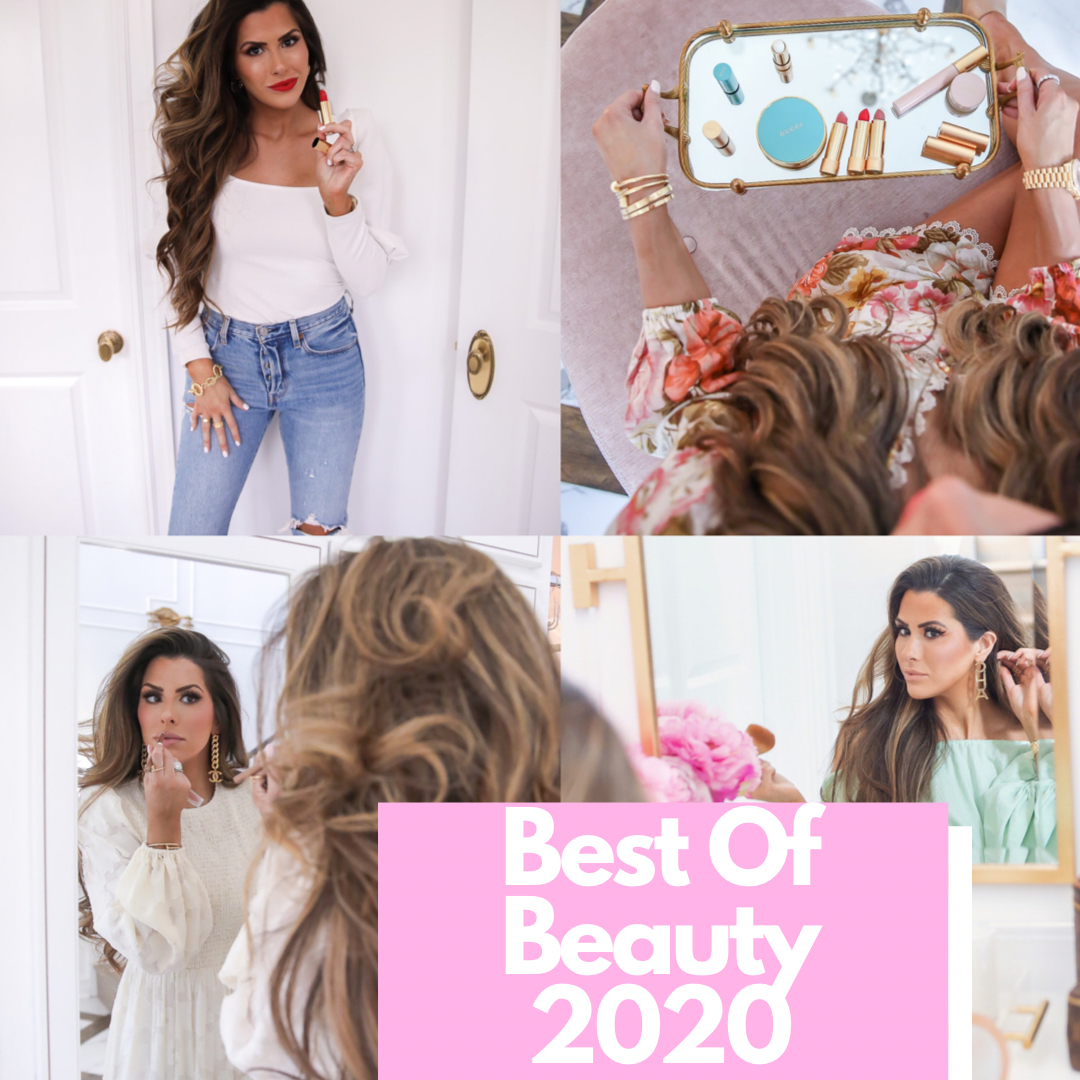 Bestofmakeup2020, best makeup 2020, emily gemma makeup, the sweetest thing blog makeup | Best of Beauty by popular US beauty blog, The Sweetest Thing: collage image of a woman holding and applying various beauty products.