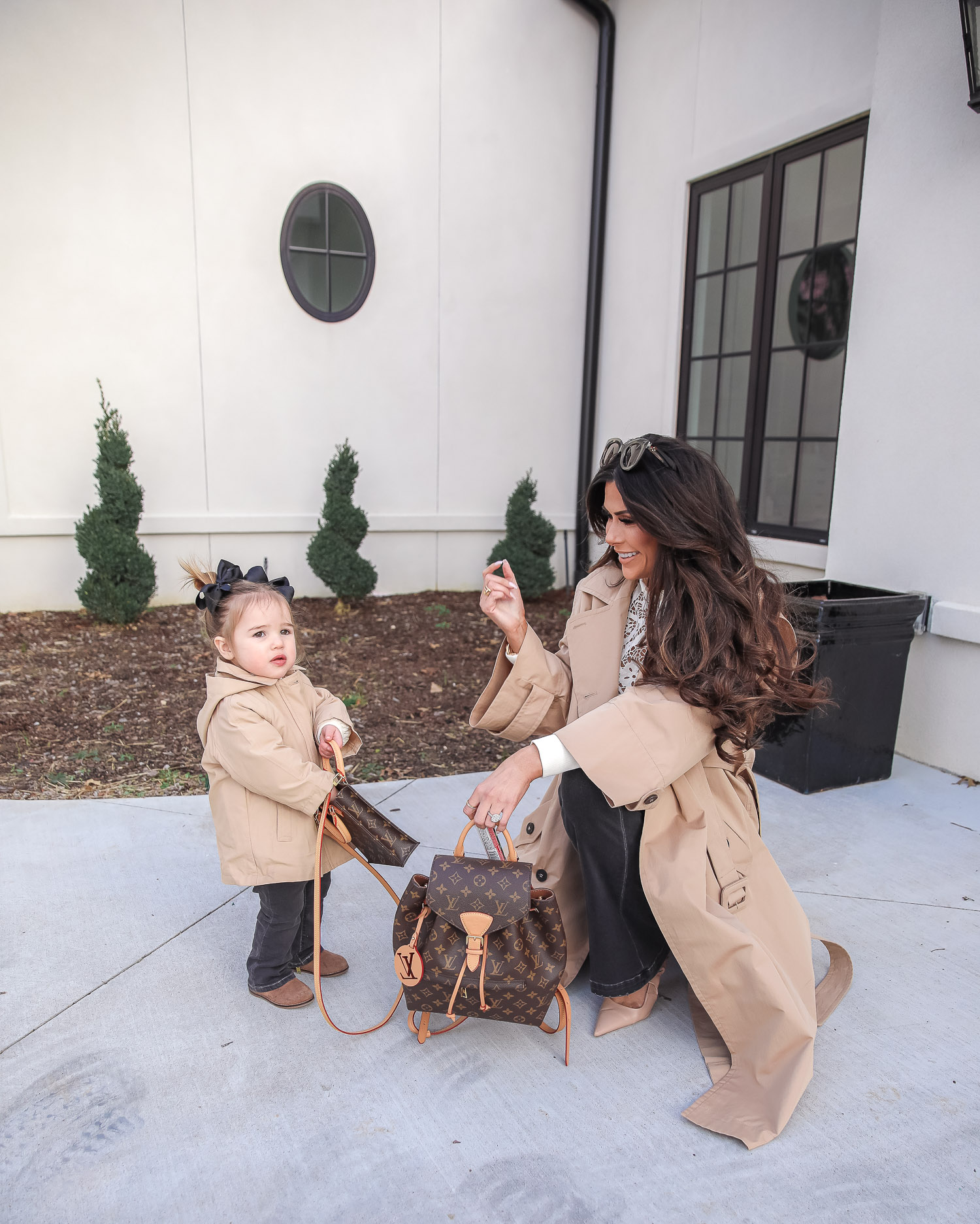 Express spring fashion 2021, emily gemma, mommy daughter matching outfits pinterest, baby fashion blogger, express trench coat 2021