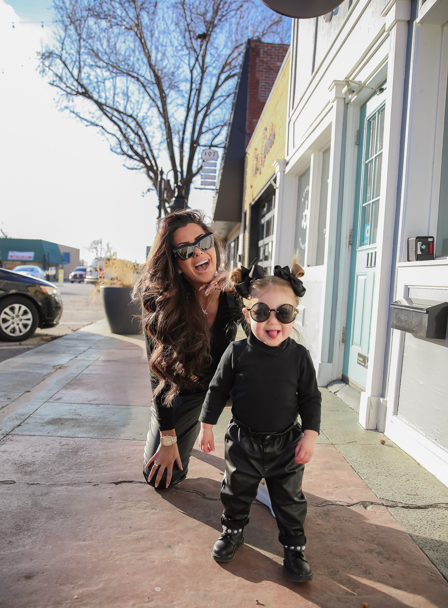 matching mommy daughter fashion outfits Pinterest, Emily Gemma, Nordstrom BP faux leather pants, loewe sunglasses, Alexander mcqueen sneakers gold white outfit pinterest