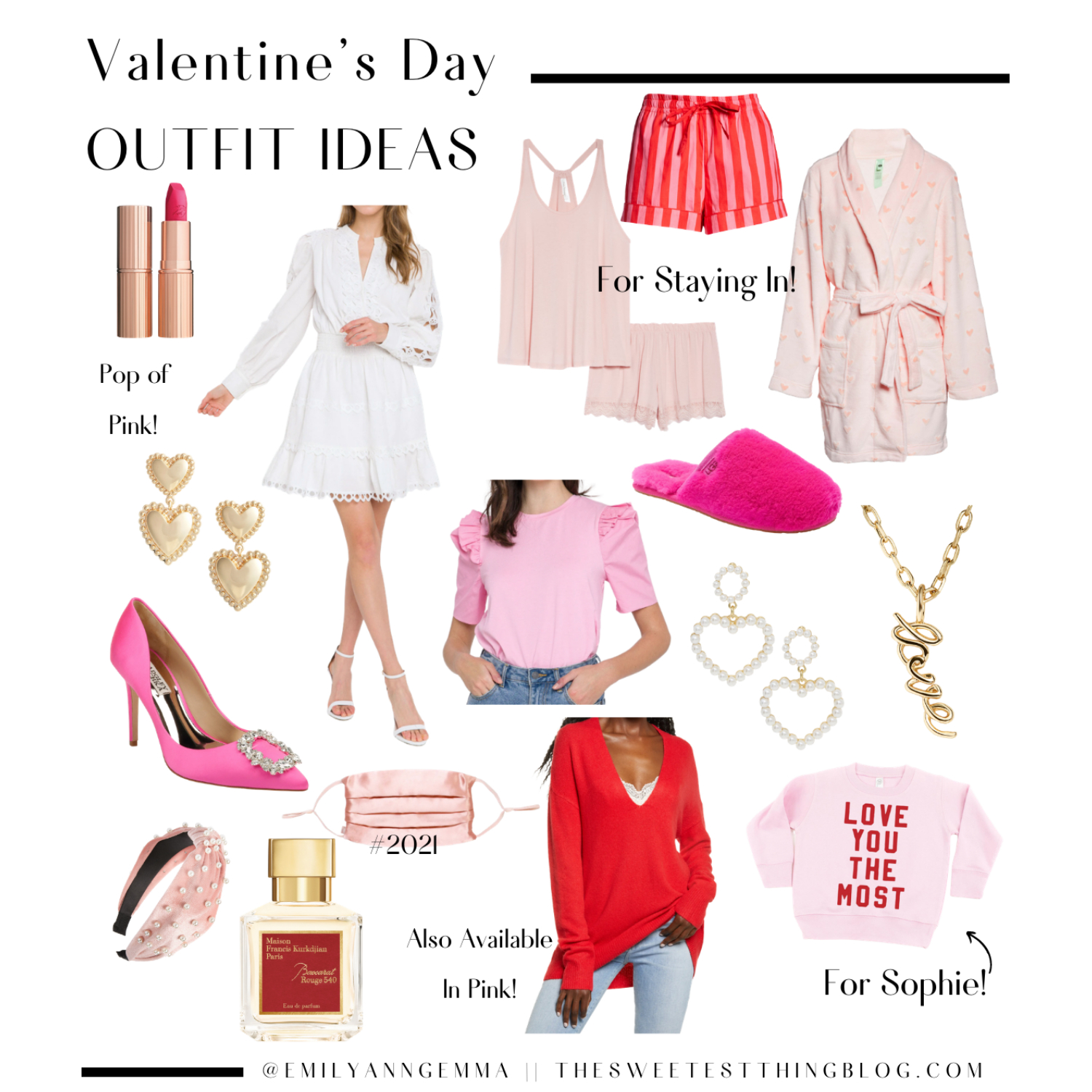 Valentine's Day Outfit Ideas by popular US fashion blog, The Sweetest Thing: collage image of a Charlotte Tilbury Hot Lips Lipstick in Electric Peony, Endless Rose White Lace Dress, Pink Lace Pajama Set, Pink and Red Striped Pajama Shorts, Plush Heart Robe, Gold Heart Earrings, Pink Puff Sleeved Tee Shirt, Pink Fuzzy Slippers, Pearl Heart Earrings, 'Love' Gold Chain Necklace, Pink Pumps, Pearl & Pink Headband, Pink Silk Face Mask, V-Neck Sweater, Love You The Most' Sweatshirt[for Sophie]  #16. Baccarat Rouge Perfume.