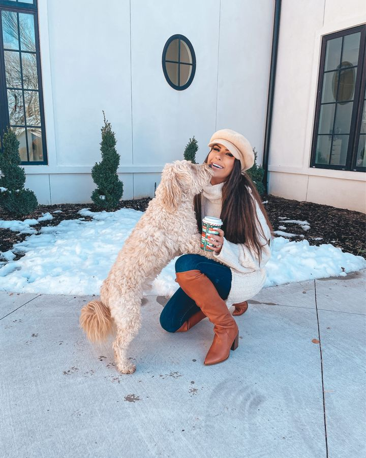 free people boots, free people tunic, baker boy cap, winter outfit ideas, best boots winter 2021, Emily Gemma